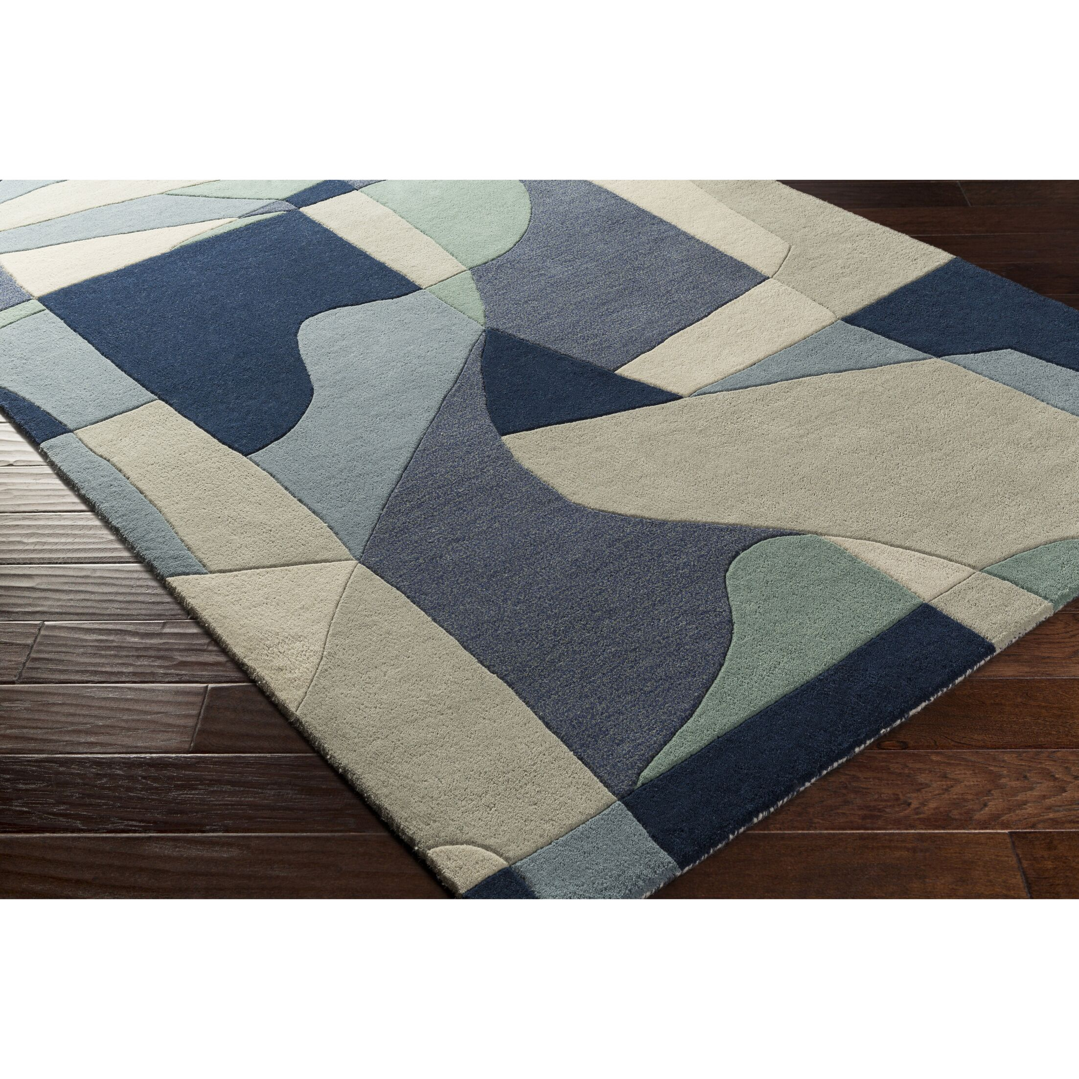 Dewald Hand-Tufted Blue Area Rug Rug Size: Rectangle 7'6