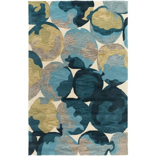 Dittmar Hand-Tufted Yellow/Blue Area Rug Rug Size: Rectangle 5' x 7'6