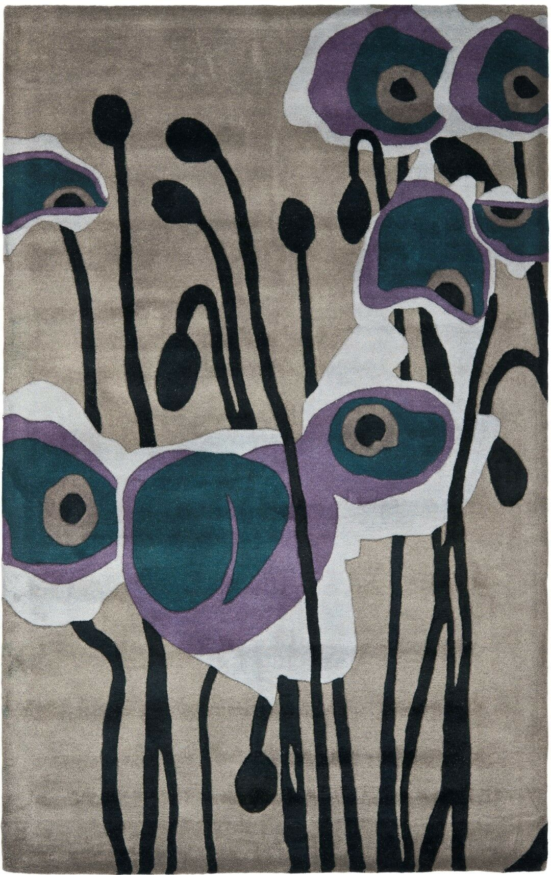 Freda Hand-Tufted Wool Black/Gray Area Rug Rug Size: Runner 2'6