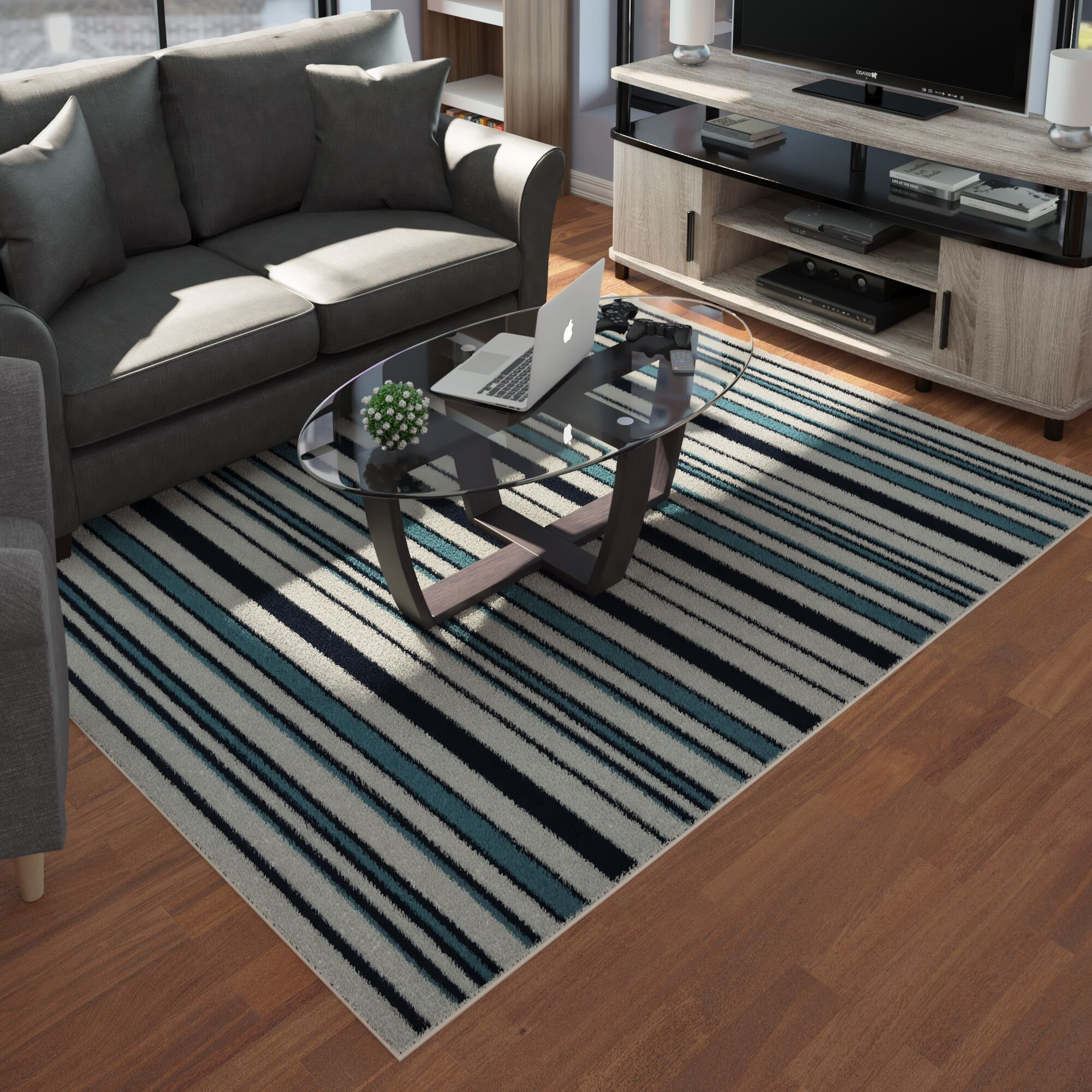 Lucia Black/Gray/Green Indoor/Outdoor Area Rug Rug Size: Rectangle 6'7