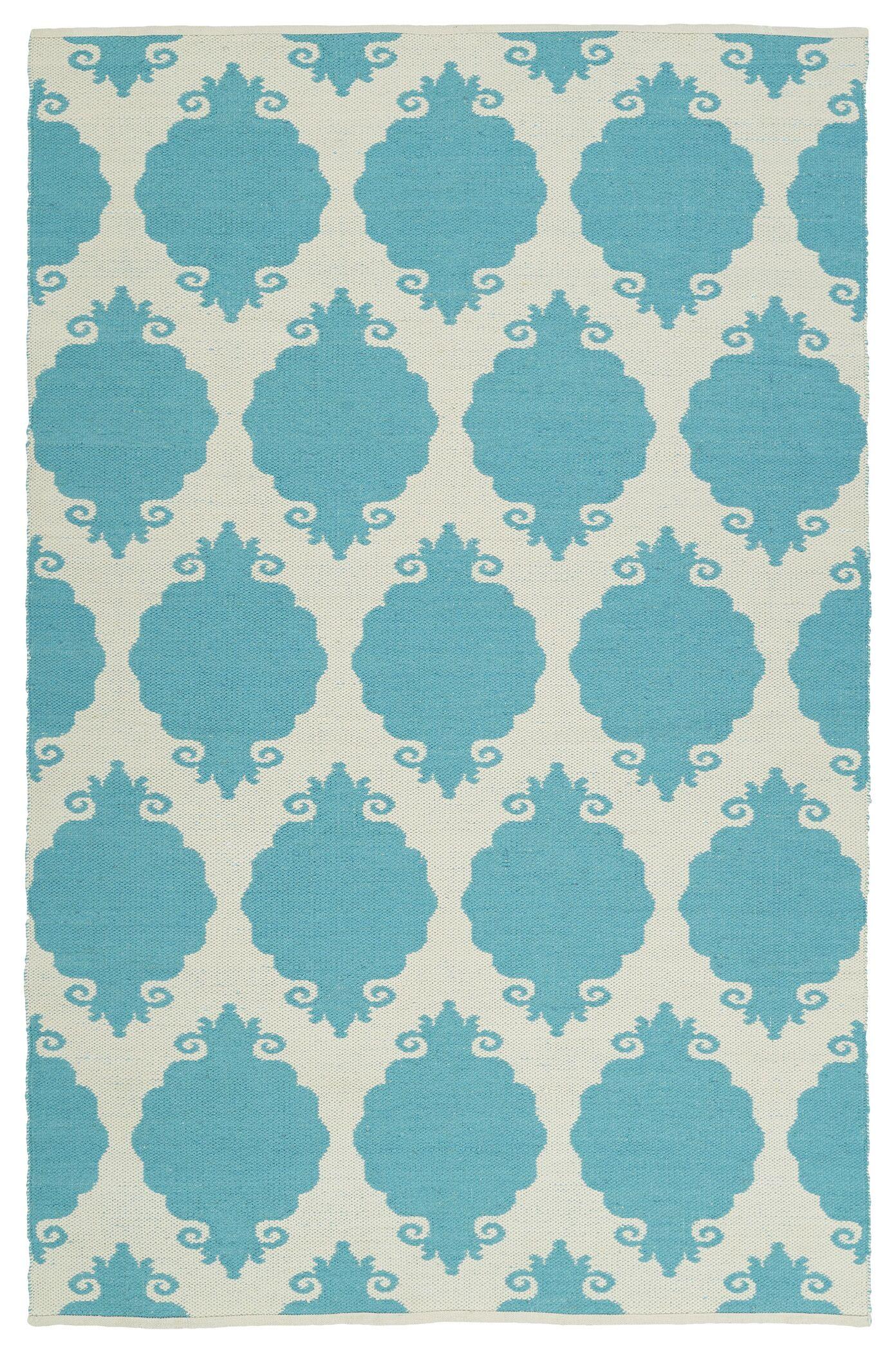 Dominic Turquoise/Cream Indoor/Outdoor Area Rug Rug Size: Rectangle 8' x 10'