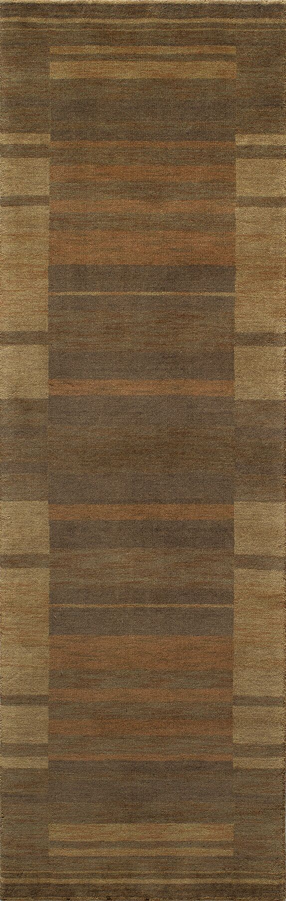 Donaghy Hand-Woven Brown/Yellow Area Rug Rug Size: Rectangle 7'6