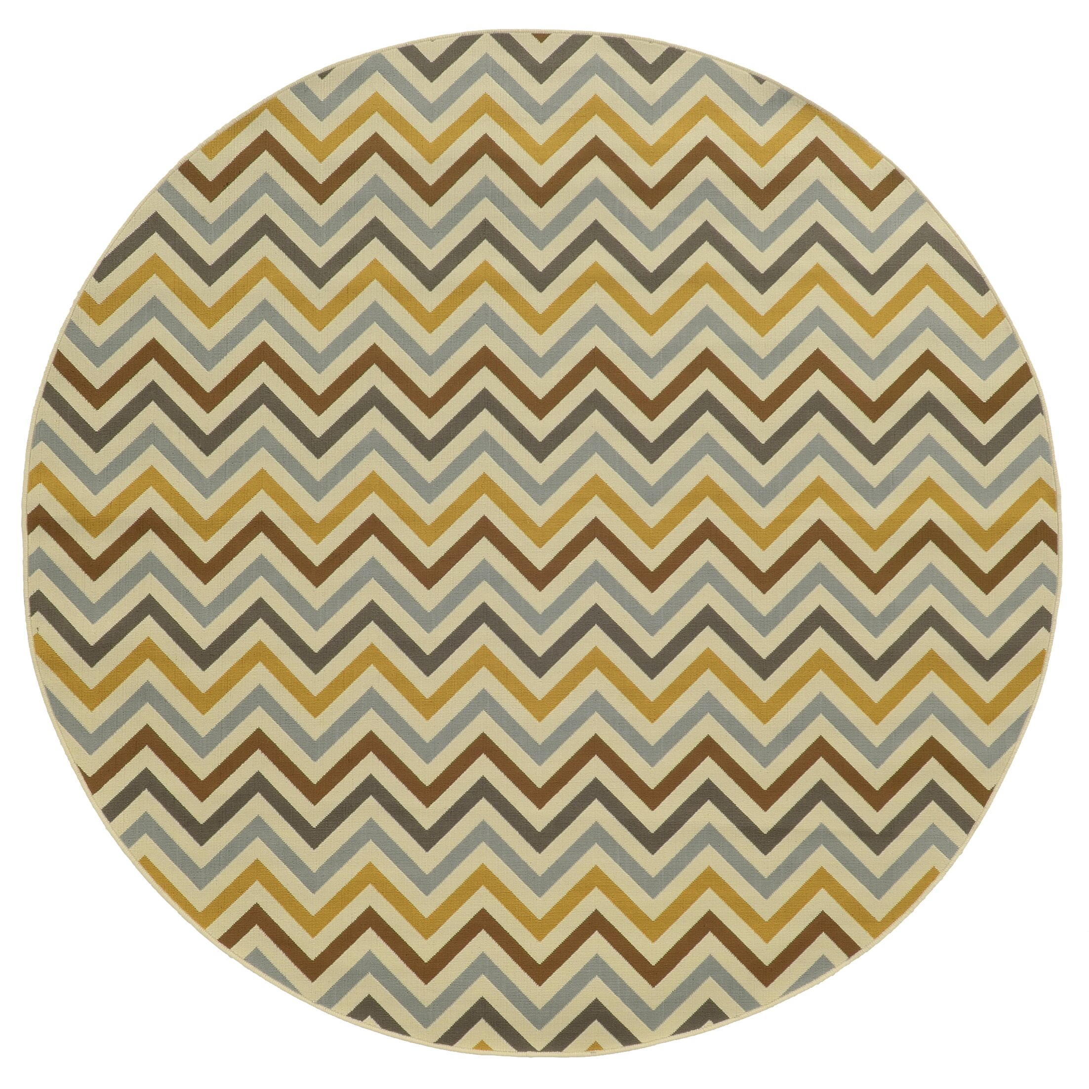 Heath Gray/Gold Indoor/Outdoor Area Rug Rug Size: Round 7'10