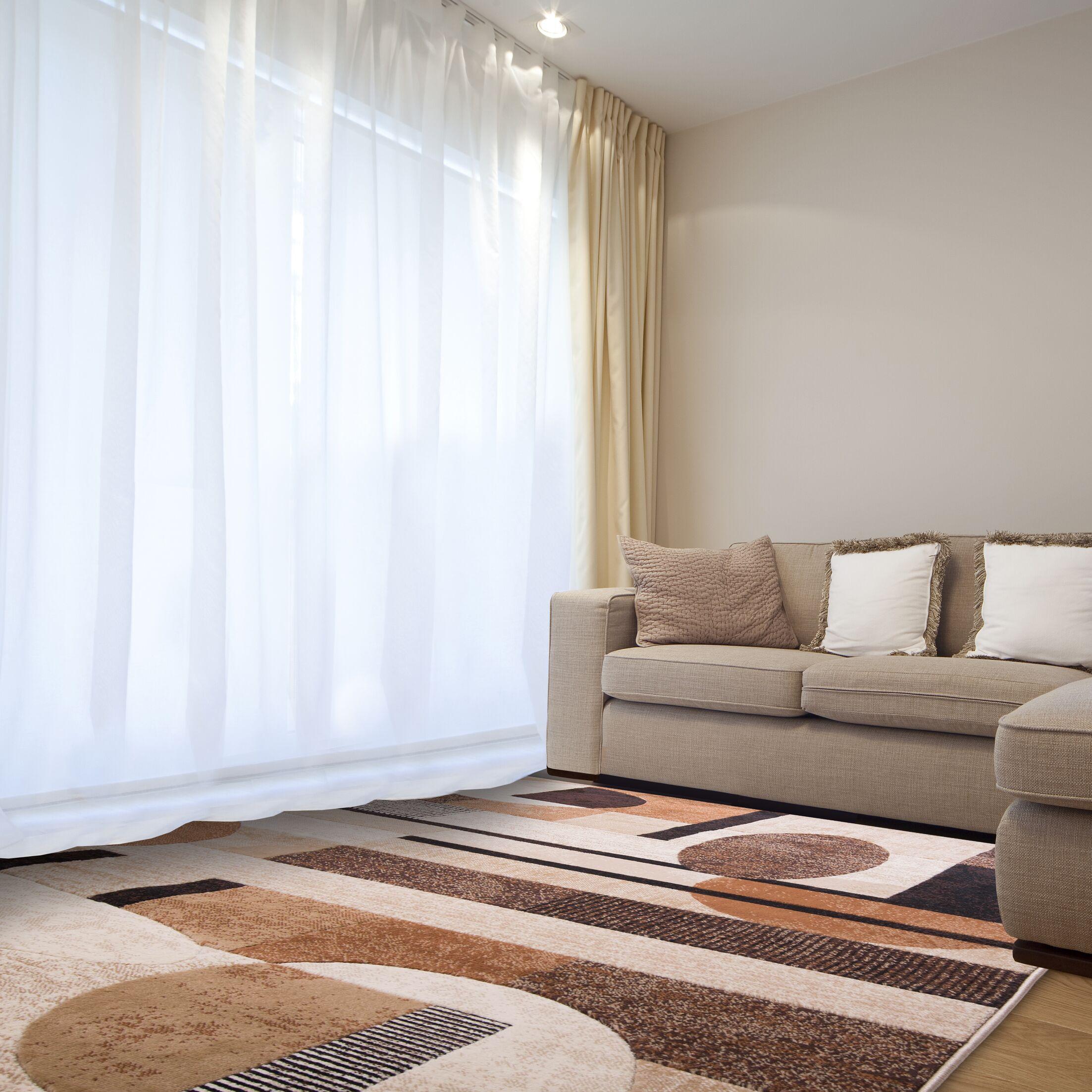 Nolan Patterned Brown/Tan Area Rug Rug Size: Rectangle 7'10