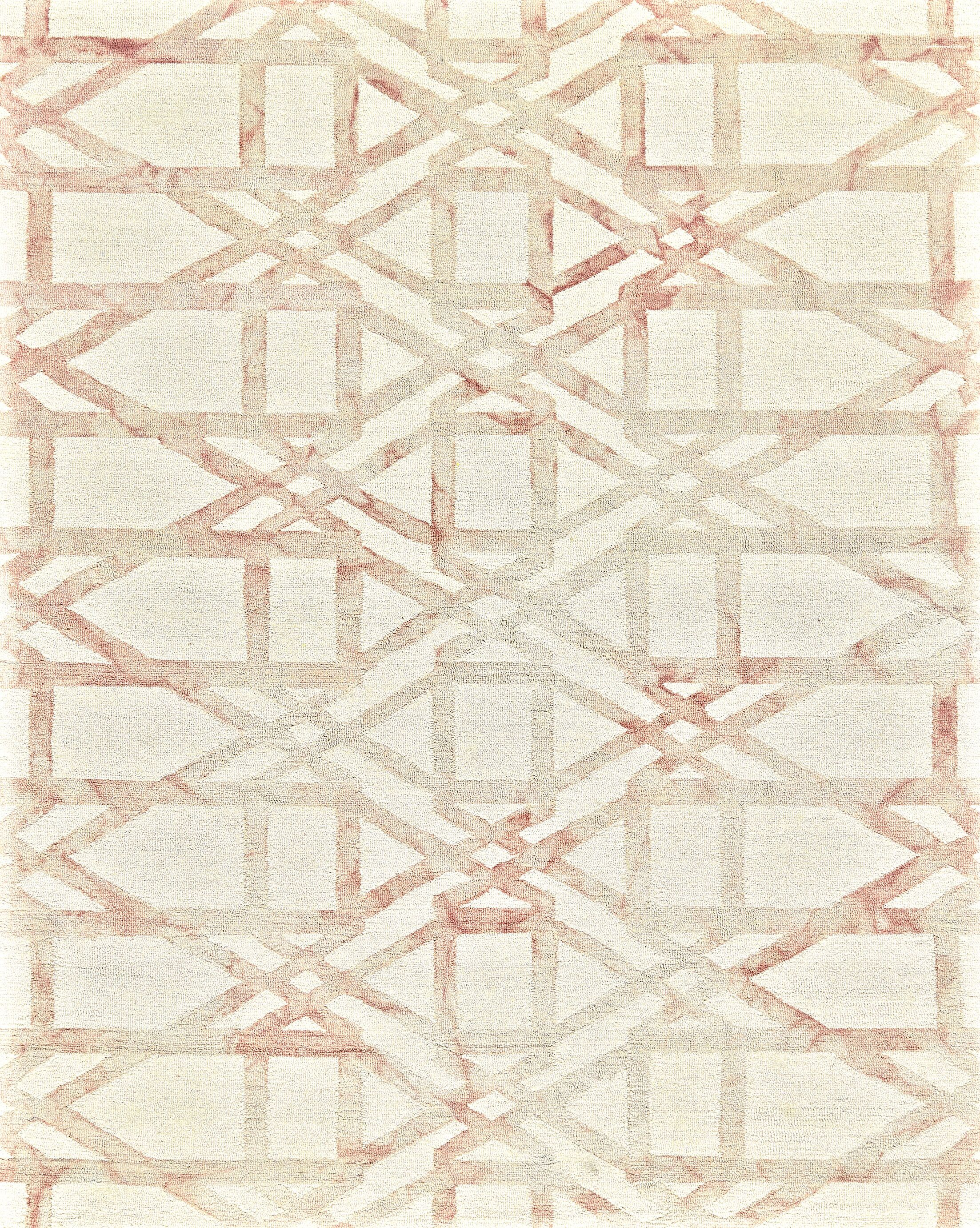 Frederick Hand-Hooked Wool Blush Area Rug Rug Size: Rectangle 9'6