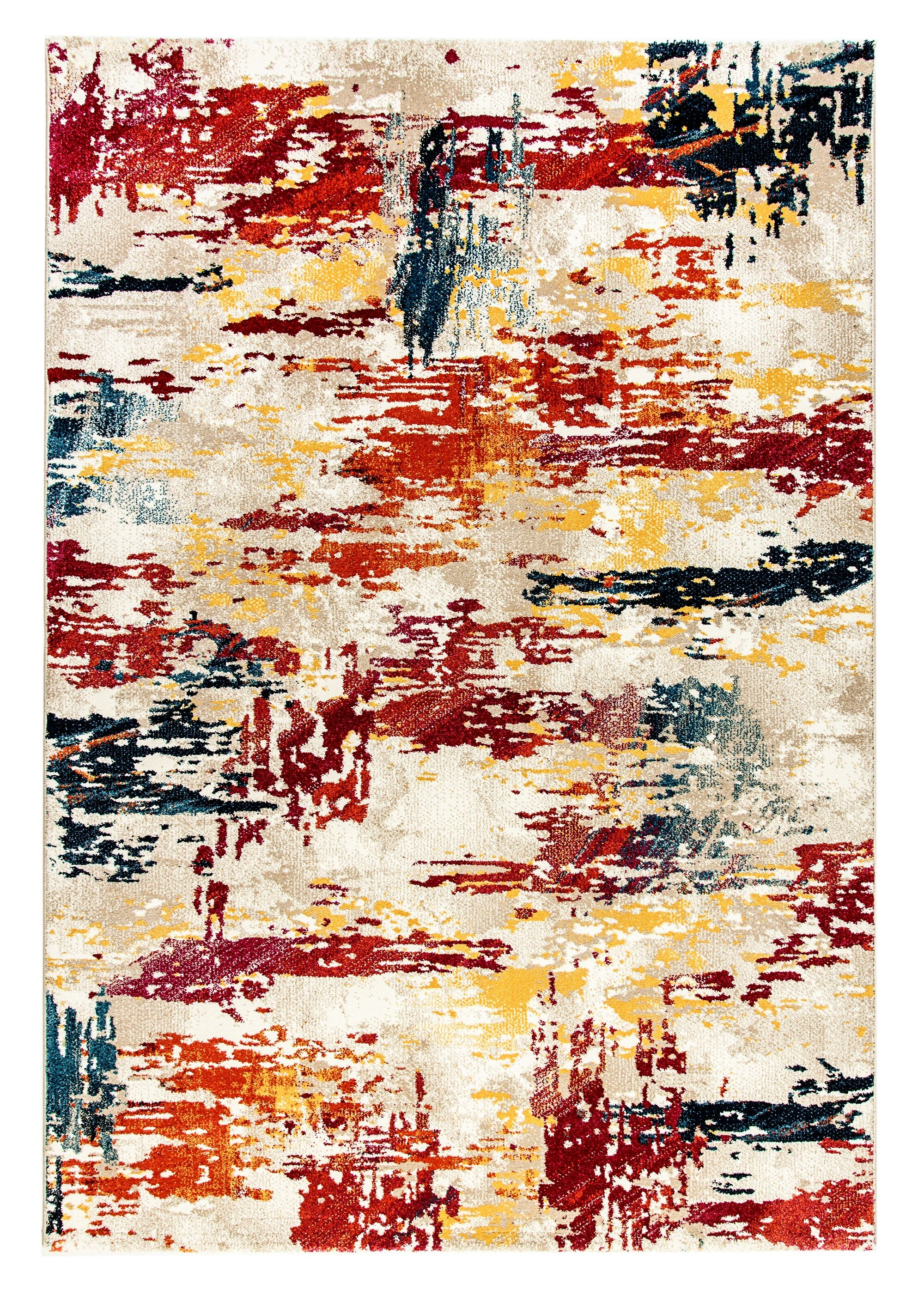 Donnellson Yellow/Gray/Red Area Rug Rug Size: Rectangle 6'7
