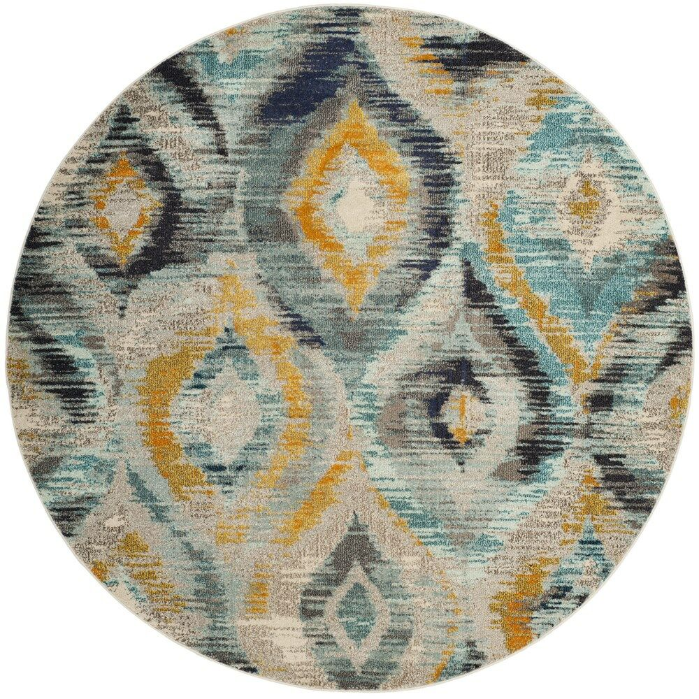 Theresa Blue Area Rug Rug Size: Round 6'7