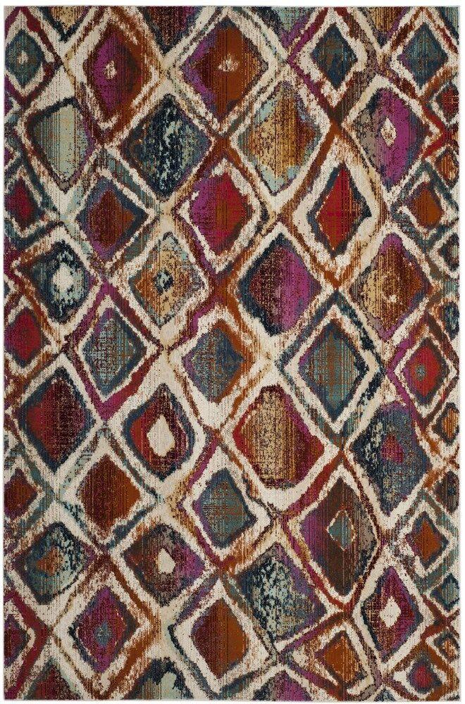 Damon Cream/Rust Area Rug Rug Size: Round 6'7