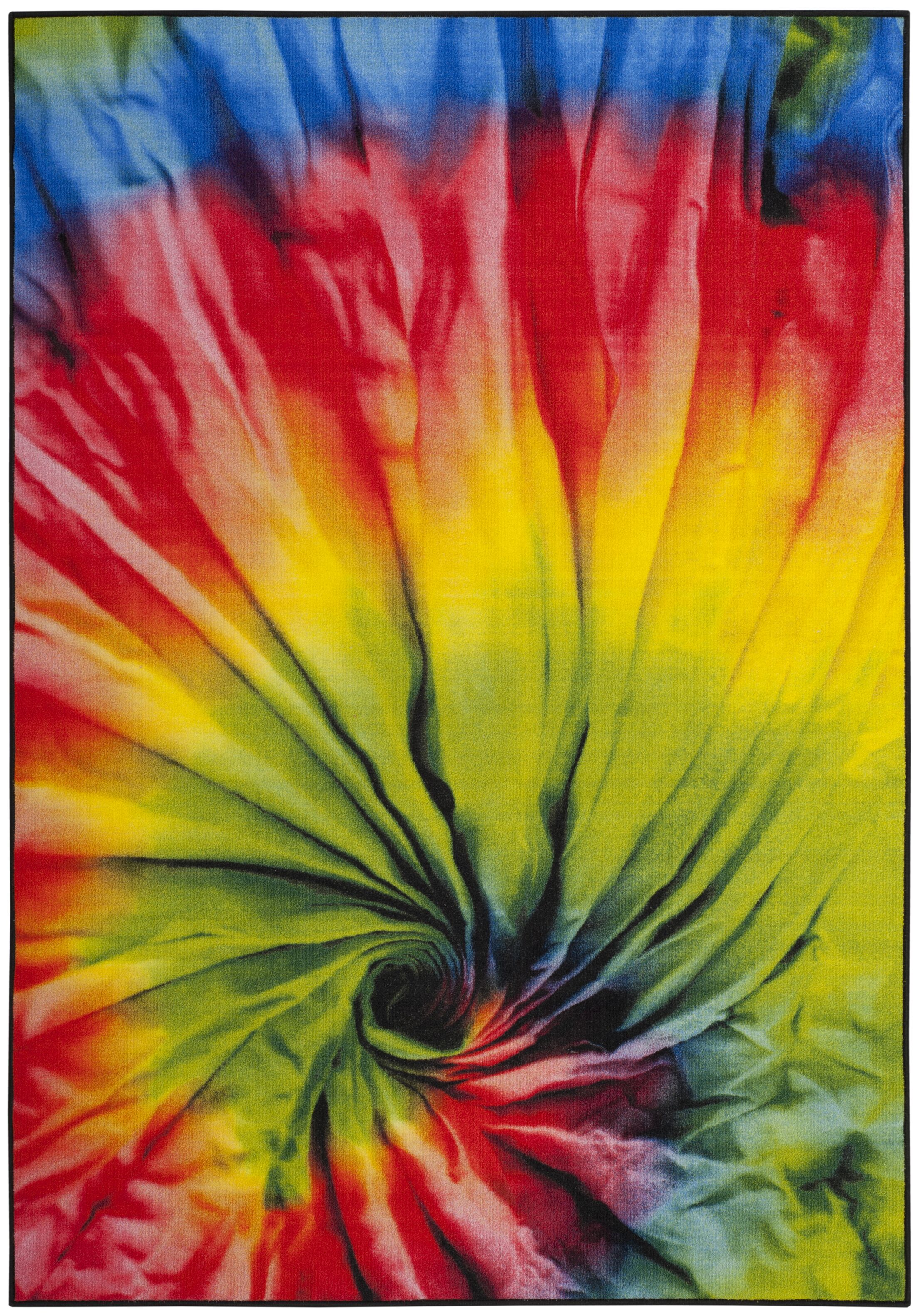 Davila Paint Brush Fuchsia/Yellow Area Rug Rug Size: Rectangle 5'1
