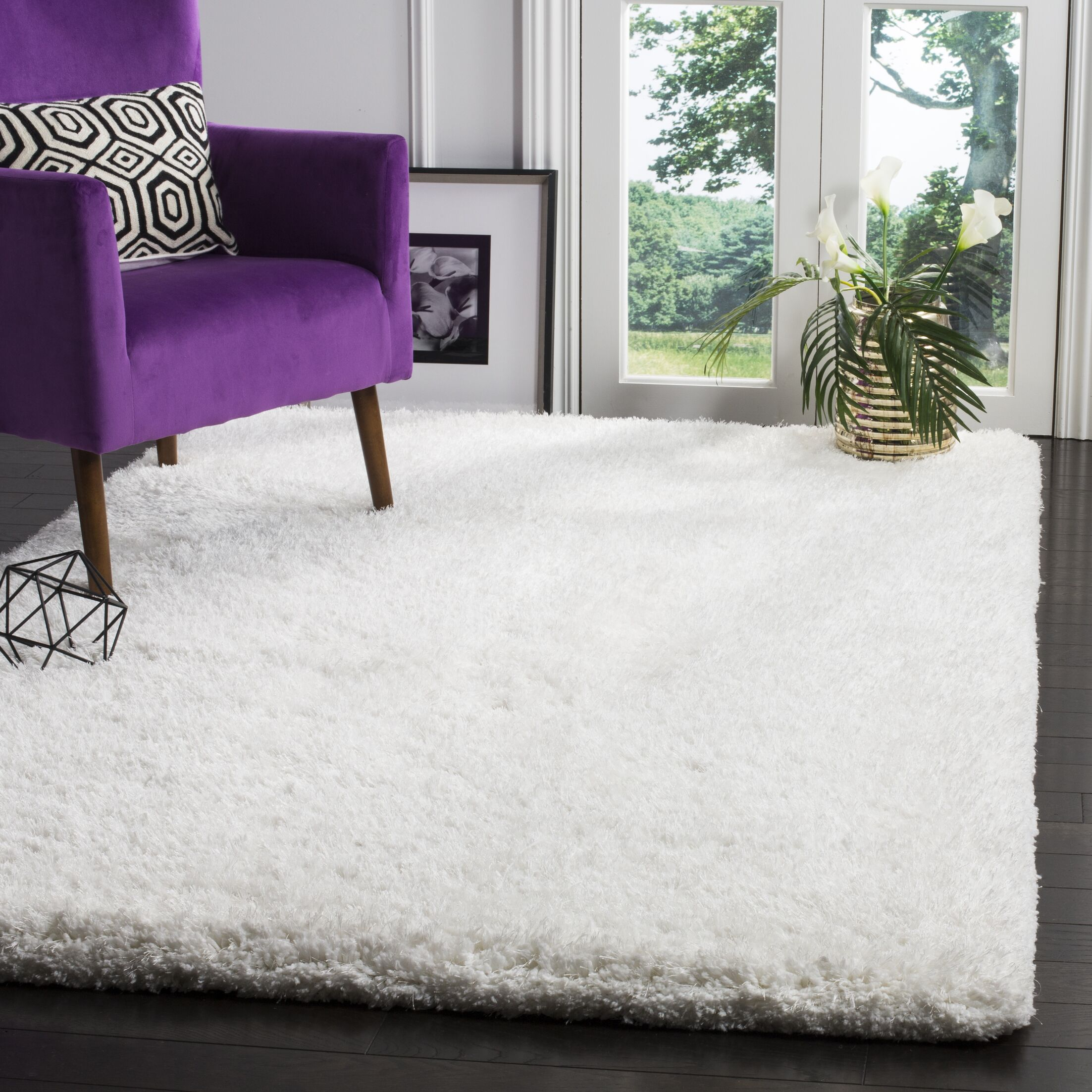 Rosa Shag Hand-Tufted White Area Rug Rug Size: Rectangle 3' x 5'