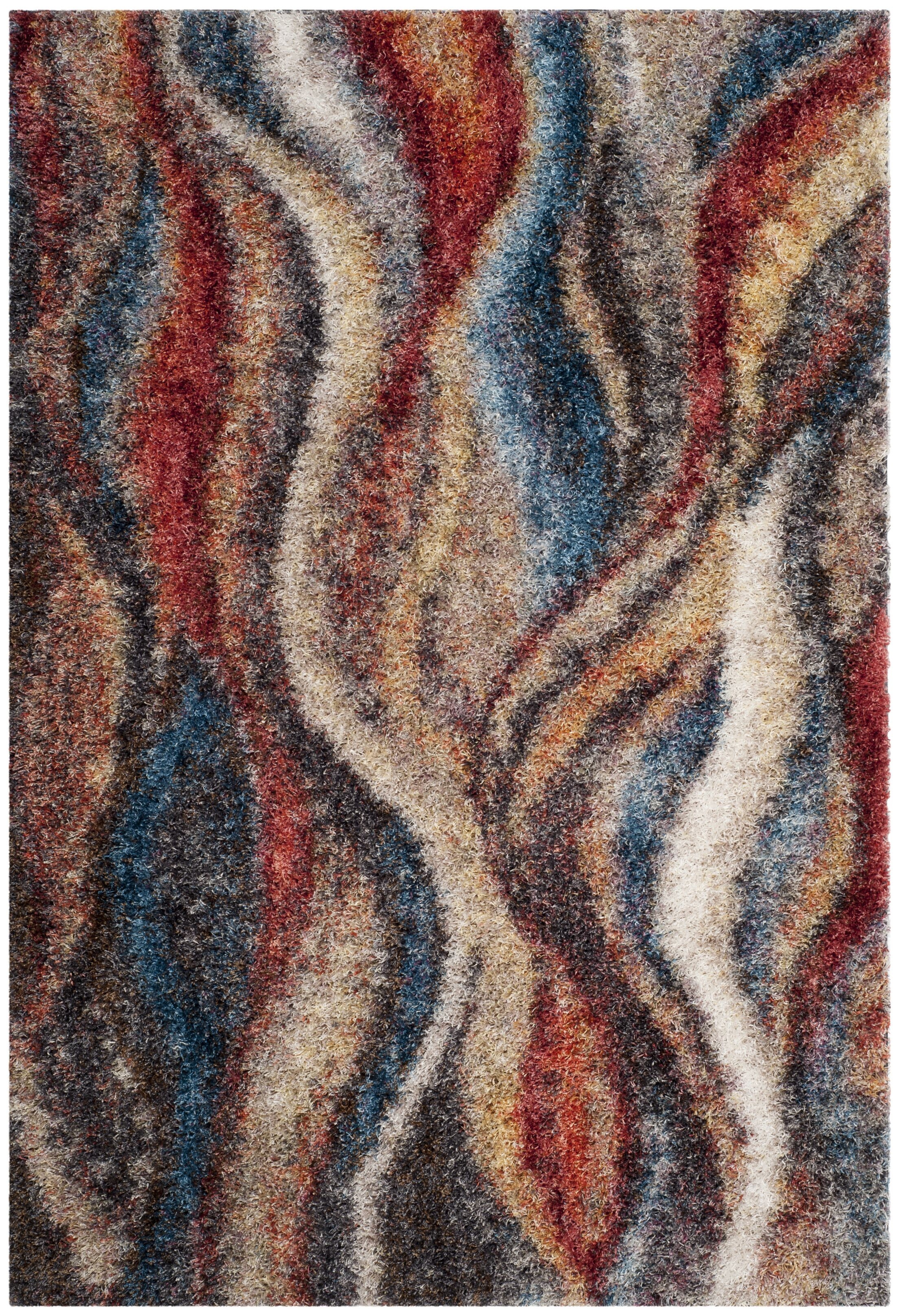 Delma Rust/Blue Area Rug Rug Size: Rectangle 6' x 9'