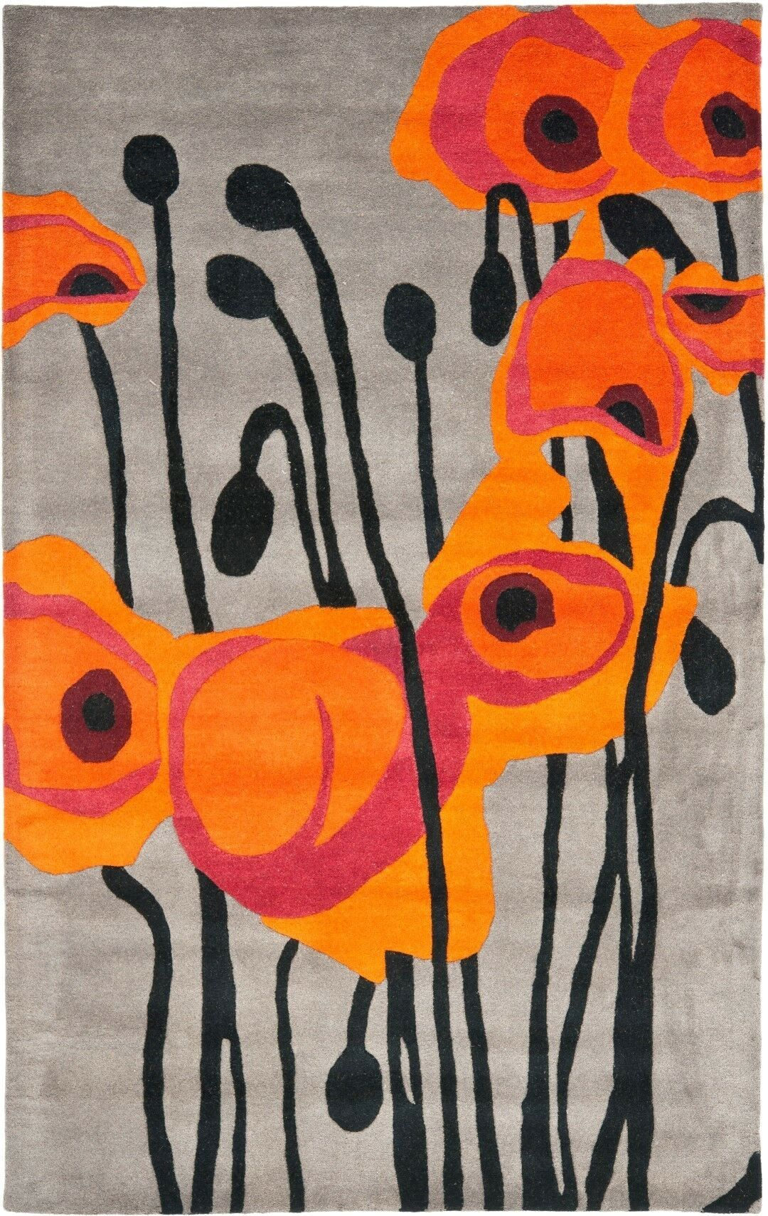 Armstrong Grey / Orange Contemporary Rug Rug Size: Rectangle 3'6