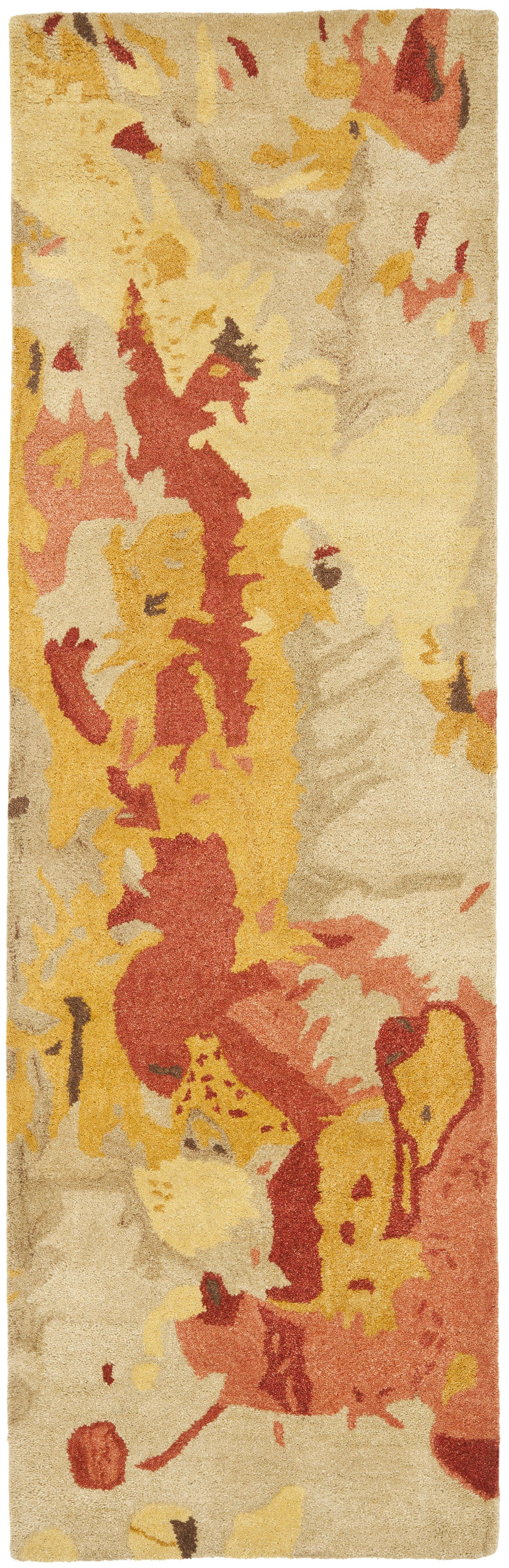 Lyon Beige & Orange Area Rug Rug Size: Runner 2'6
