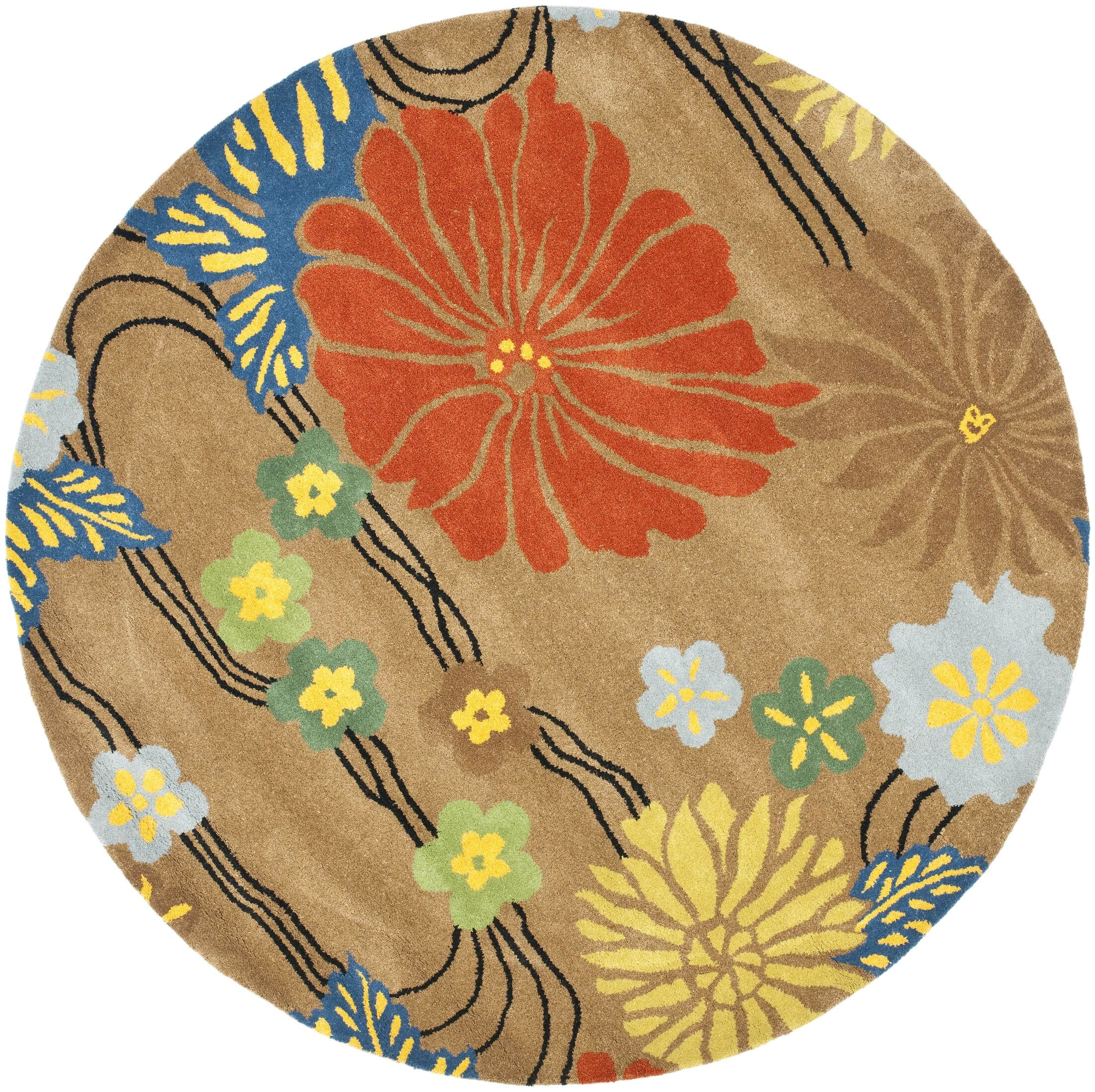 Armstrong Brown Floral Area Rug Rug Size: Round 6'