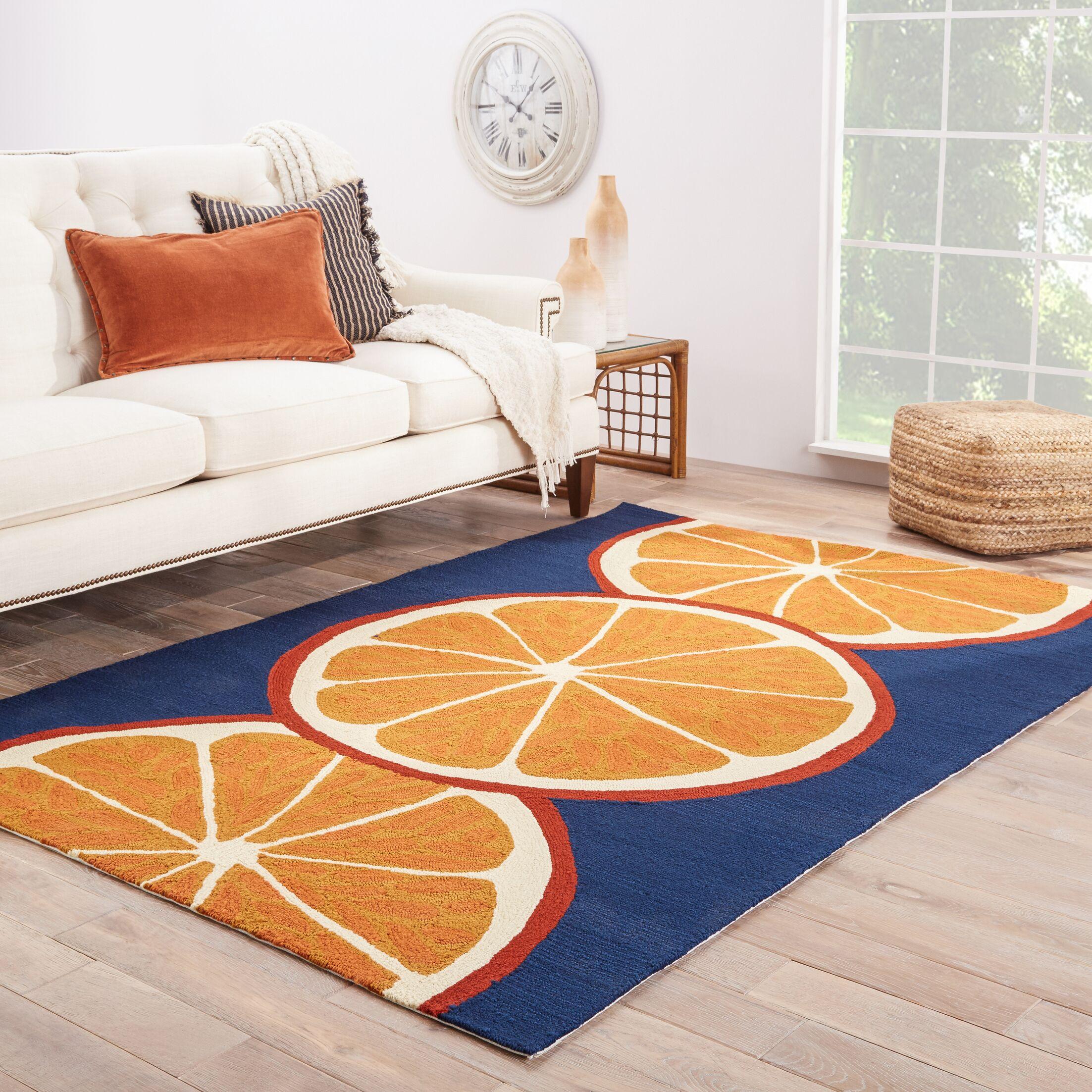 Smith Conversational Orange/Blue Indoor/Outdoor Area Rug Rug Size: Rectangle 5' x 7'6