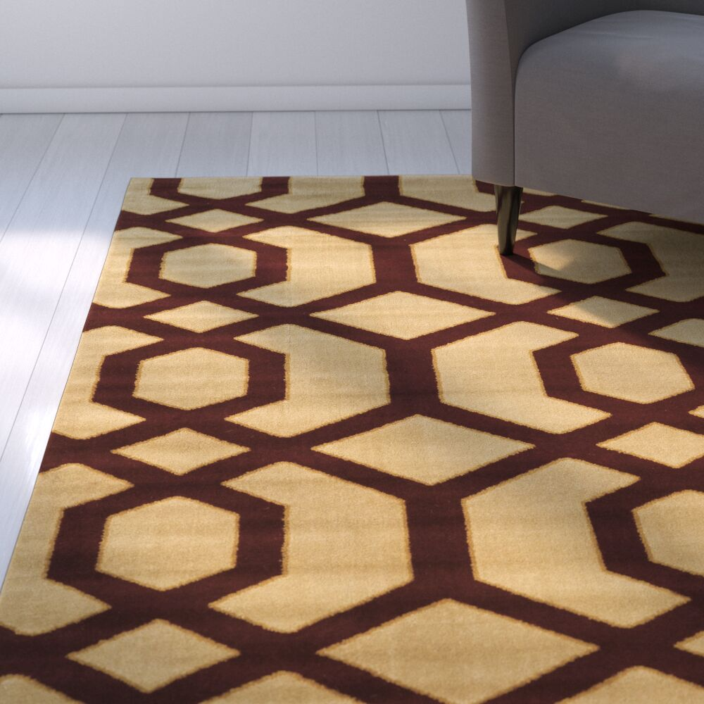 Briana Brown/Tan Area Rug Rug Size: Rectangle 5' x 7'3