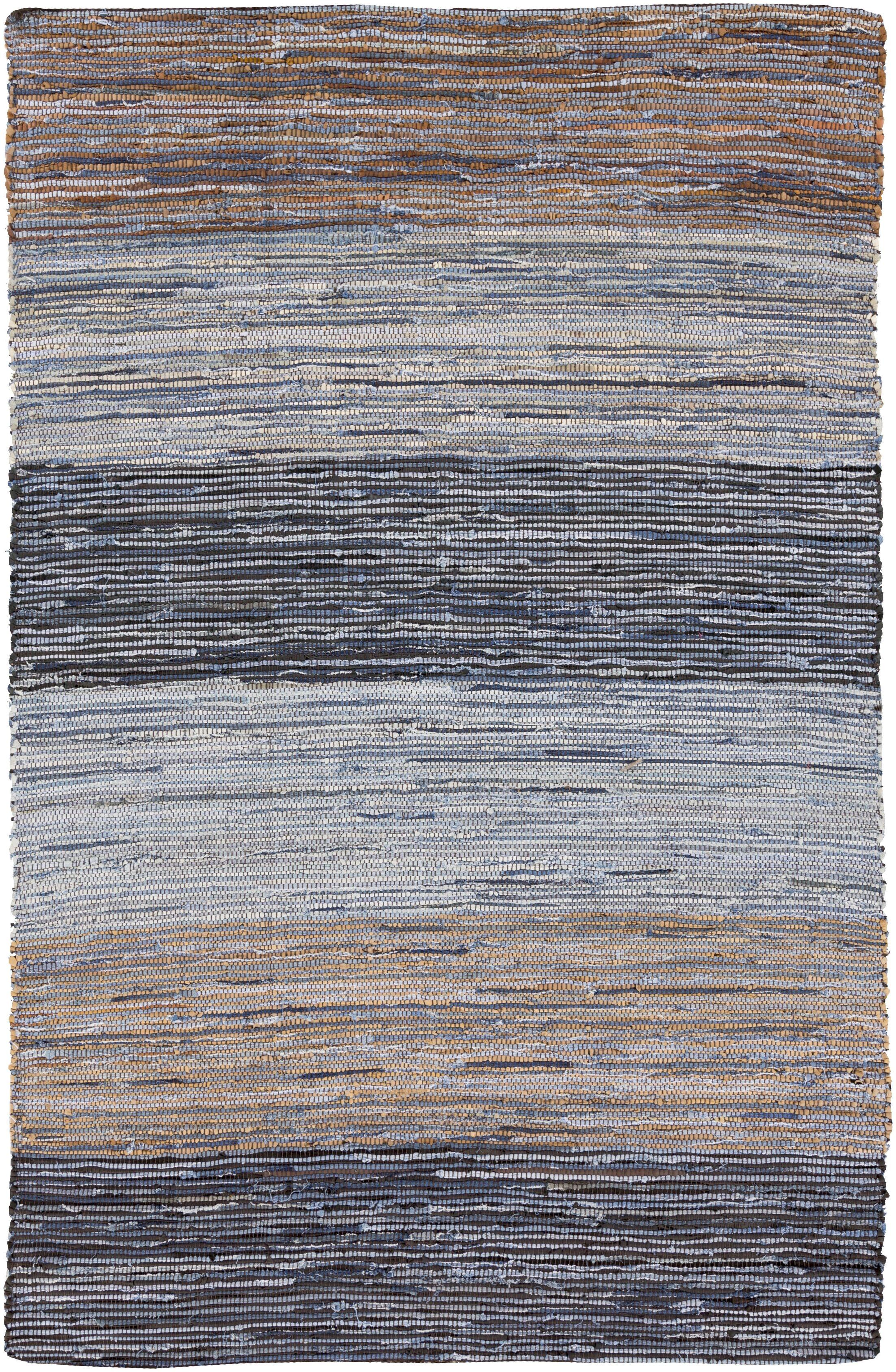 Audriana Hand-Woven Cotton Mocha/Slate Striped Area Rug Rug Size: Rectangle 8' x 11'