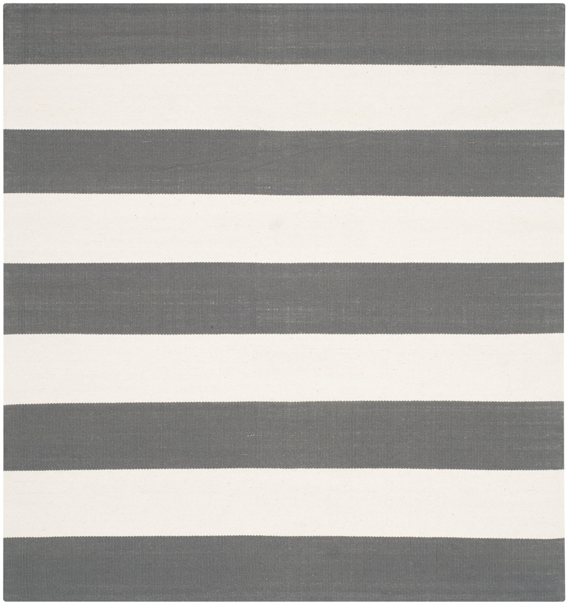 Skyler Hand-Woven Cotton Gray/Ivory Area Rug Rug Size: Square 6'