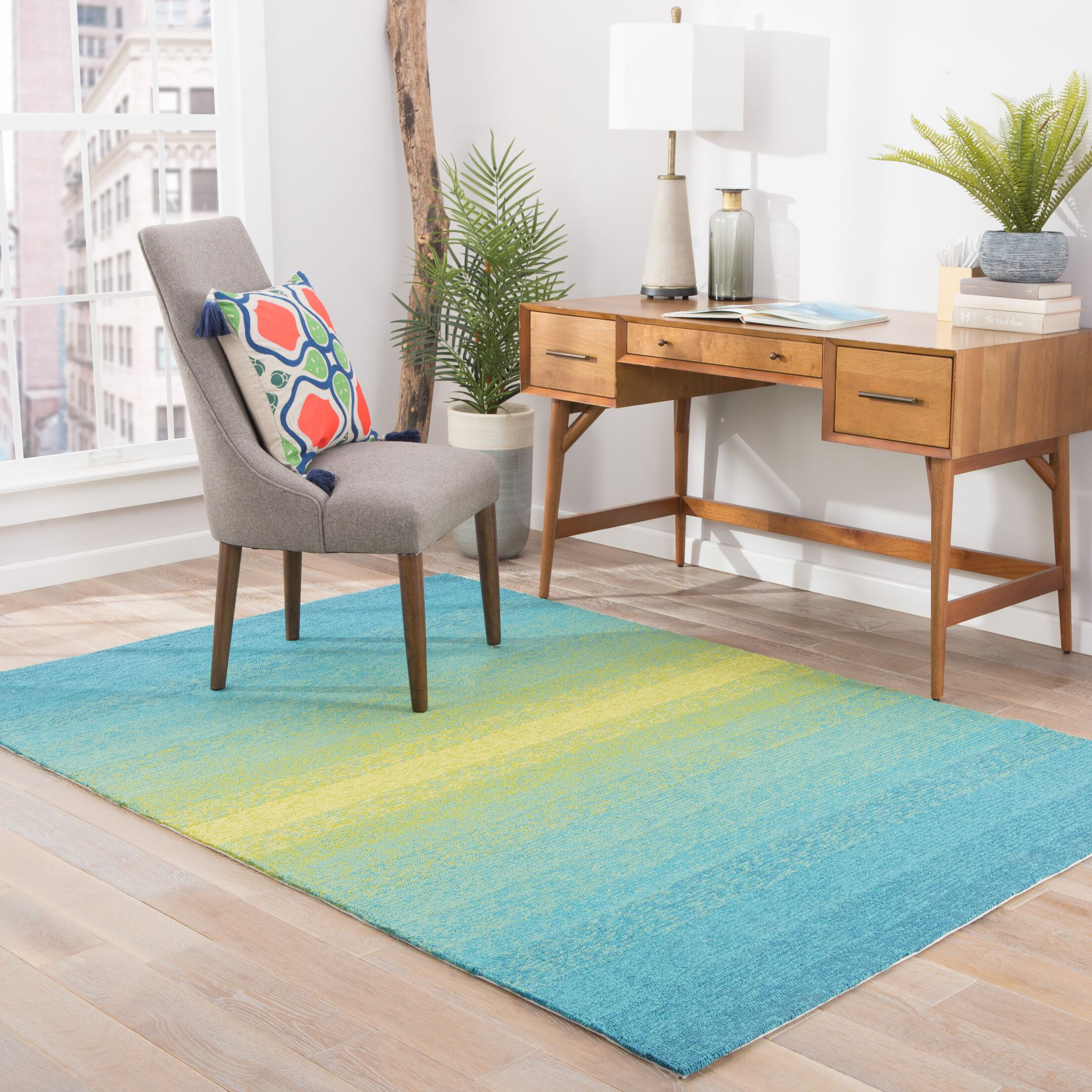 Calanthe Blue/Green Indoor/Outdoor Area Rug Rug Size: Rectangle 7'6