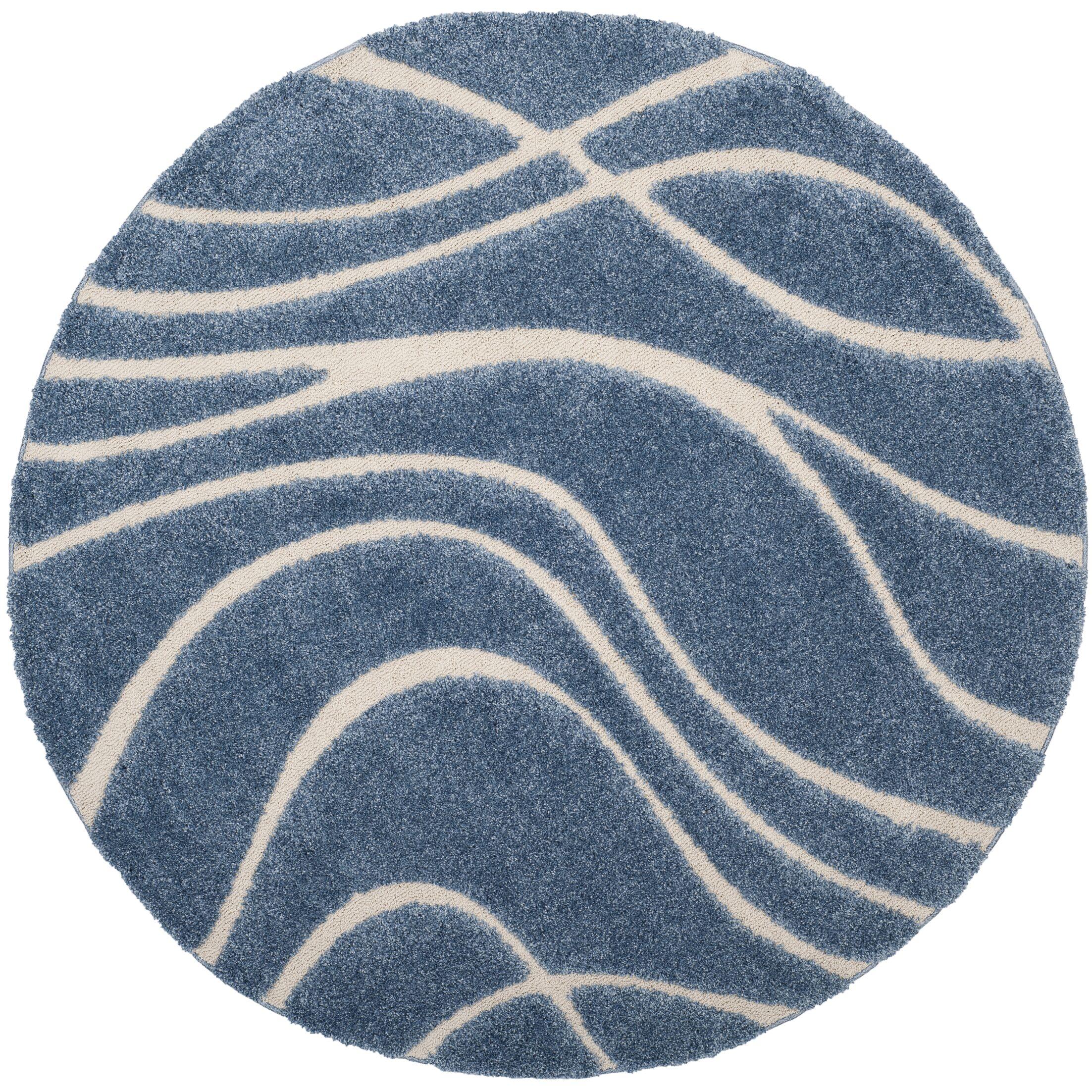 Enrique Blue/Cream Area Rug Rug Size: Round 6'7