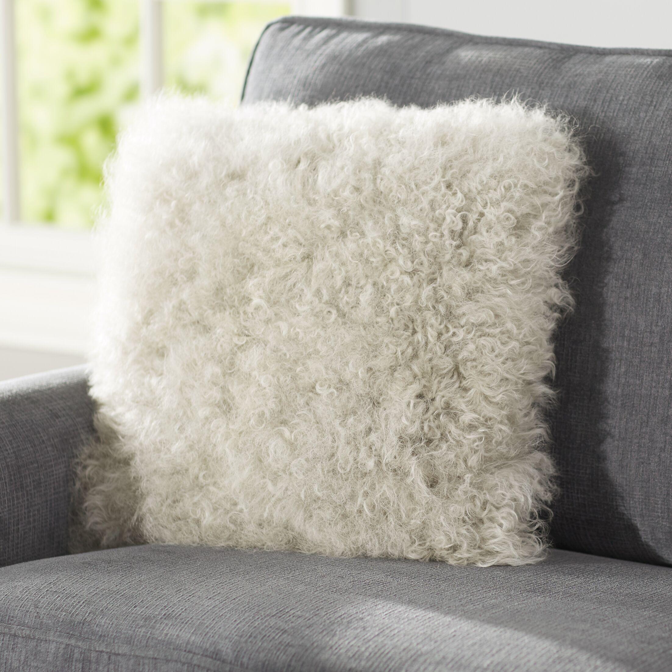 Becky Mongolian Fur Throw Pillow Color: Fog, Size: 20