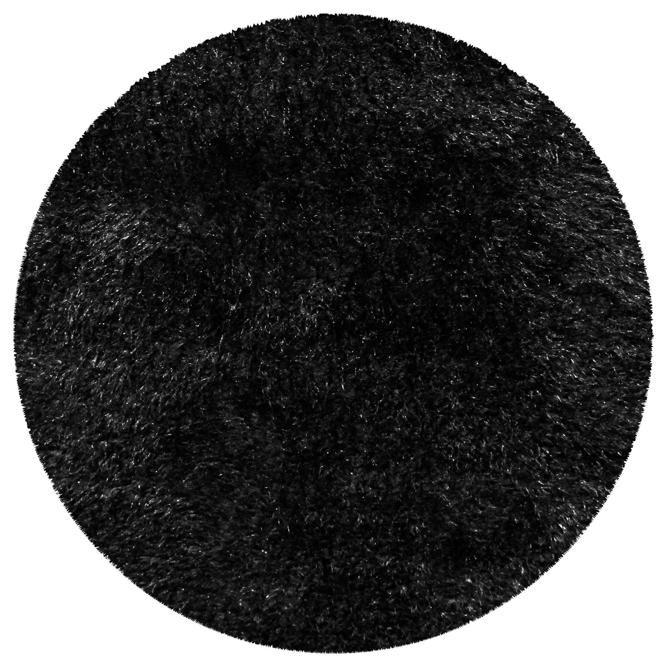 Catharine Hand-Woven Black Area Rug Rug Size: Round 6'6