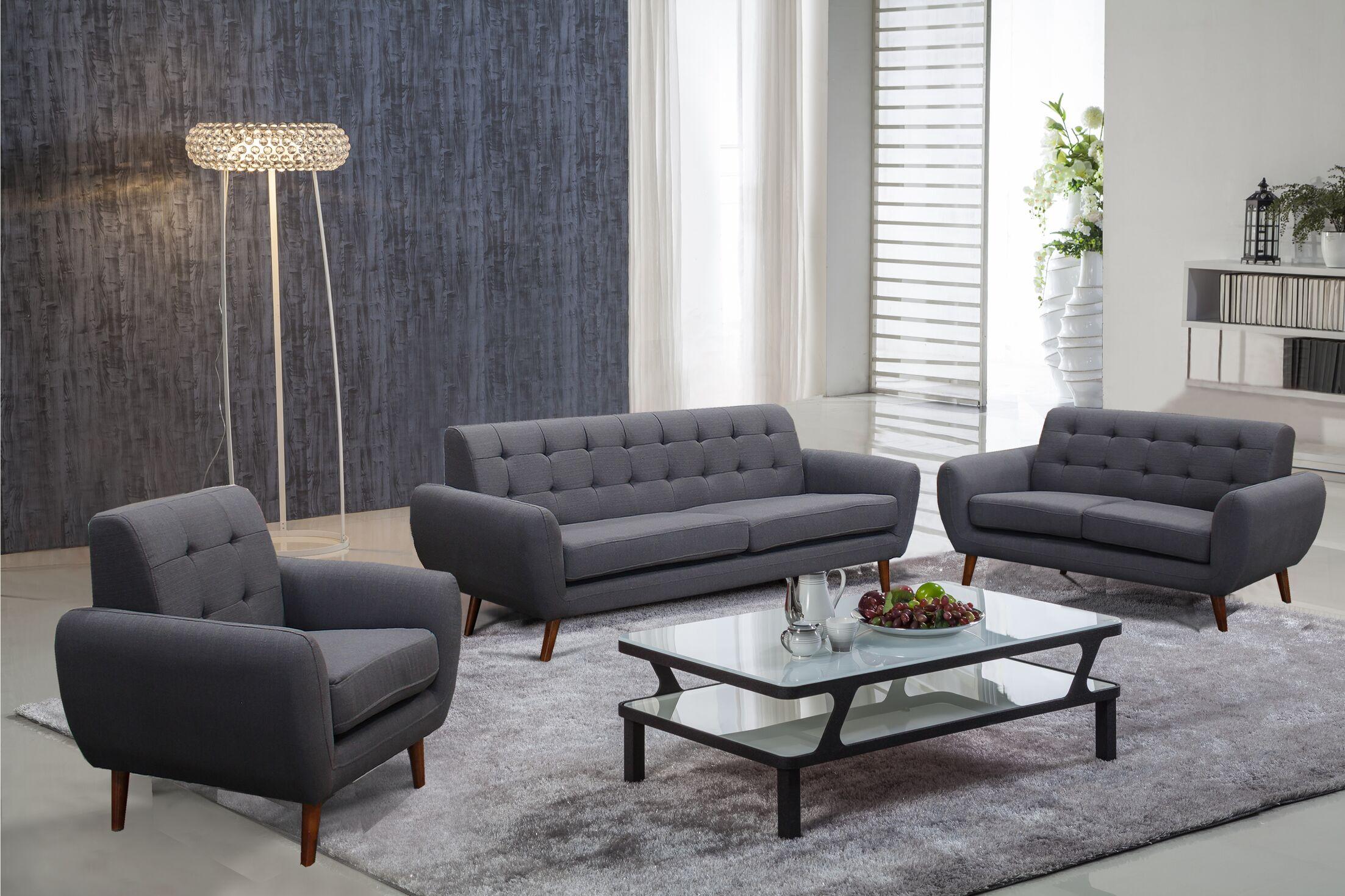 Diara 3 Piece Living Room Set Upholstery: Dark Gray