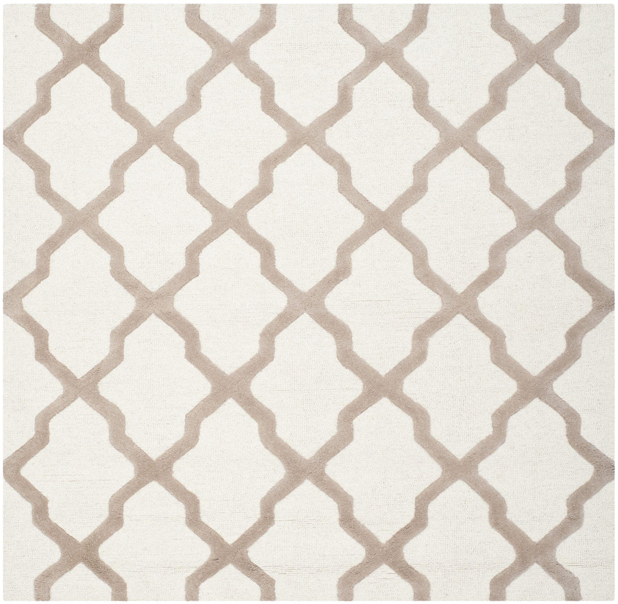 Charlenne Hand-Tufted Wool Ivory/Beige Area Rug Rug Size: Square 6'