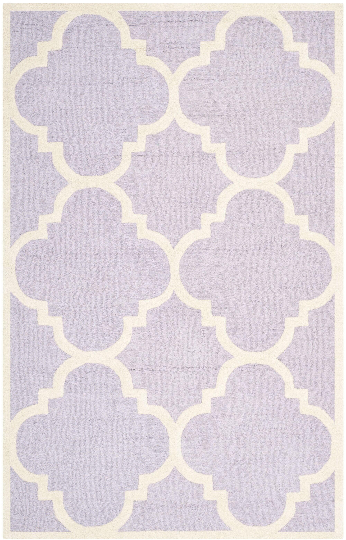 Charlenne Wool Lavander / Ivory Area Rug Rug Size: Rectangle 5' x 8'