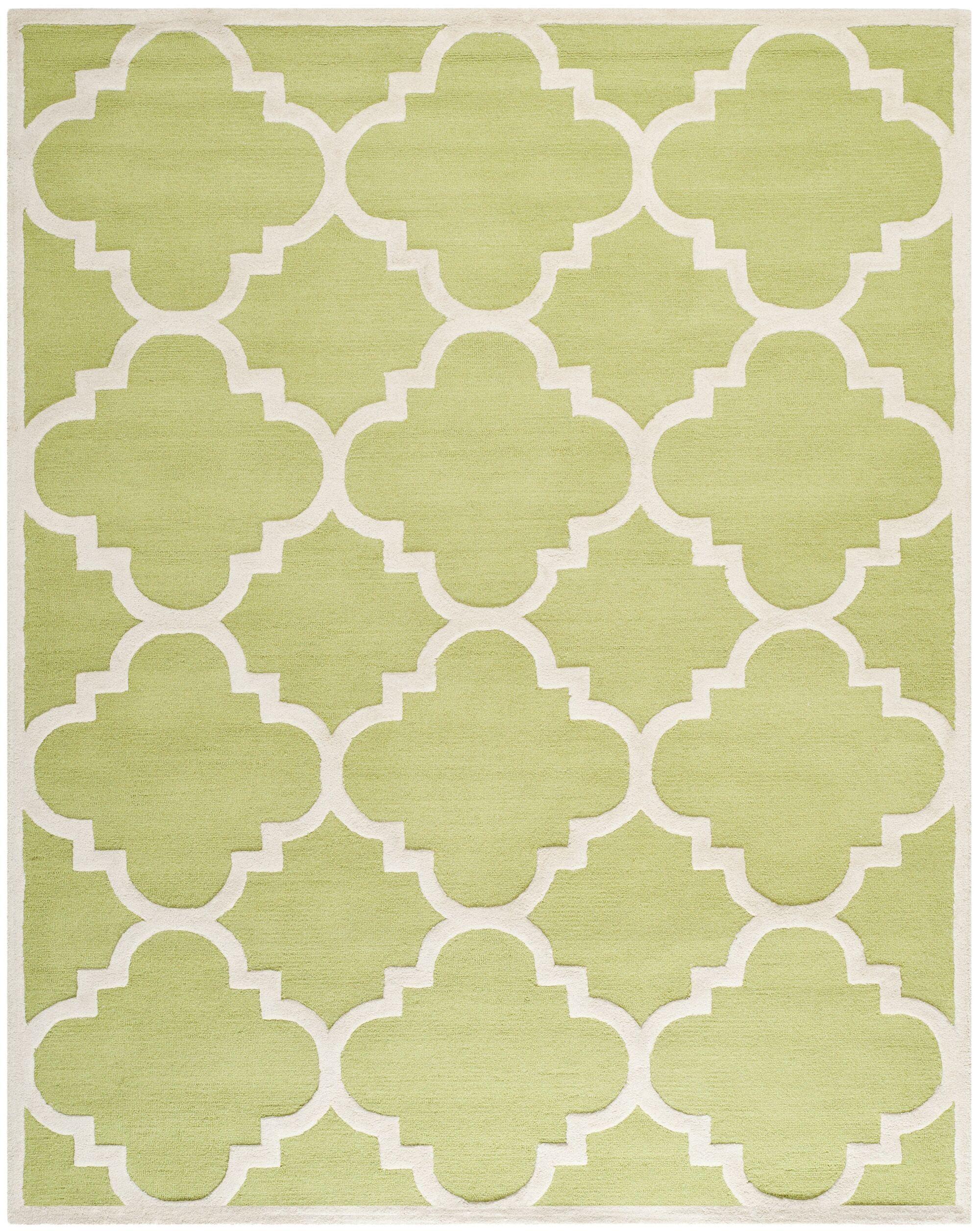 Charlenne Wool Green / Ivory Area Rug Rug Size: Rectangle 8' x 10'