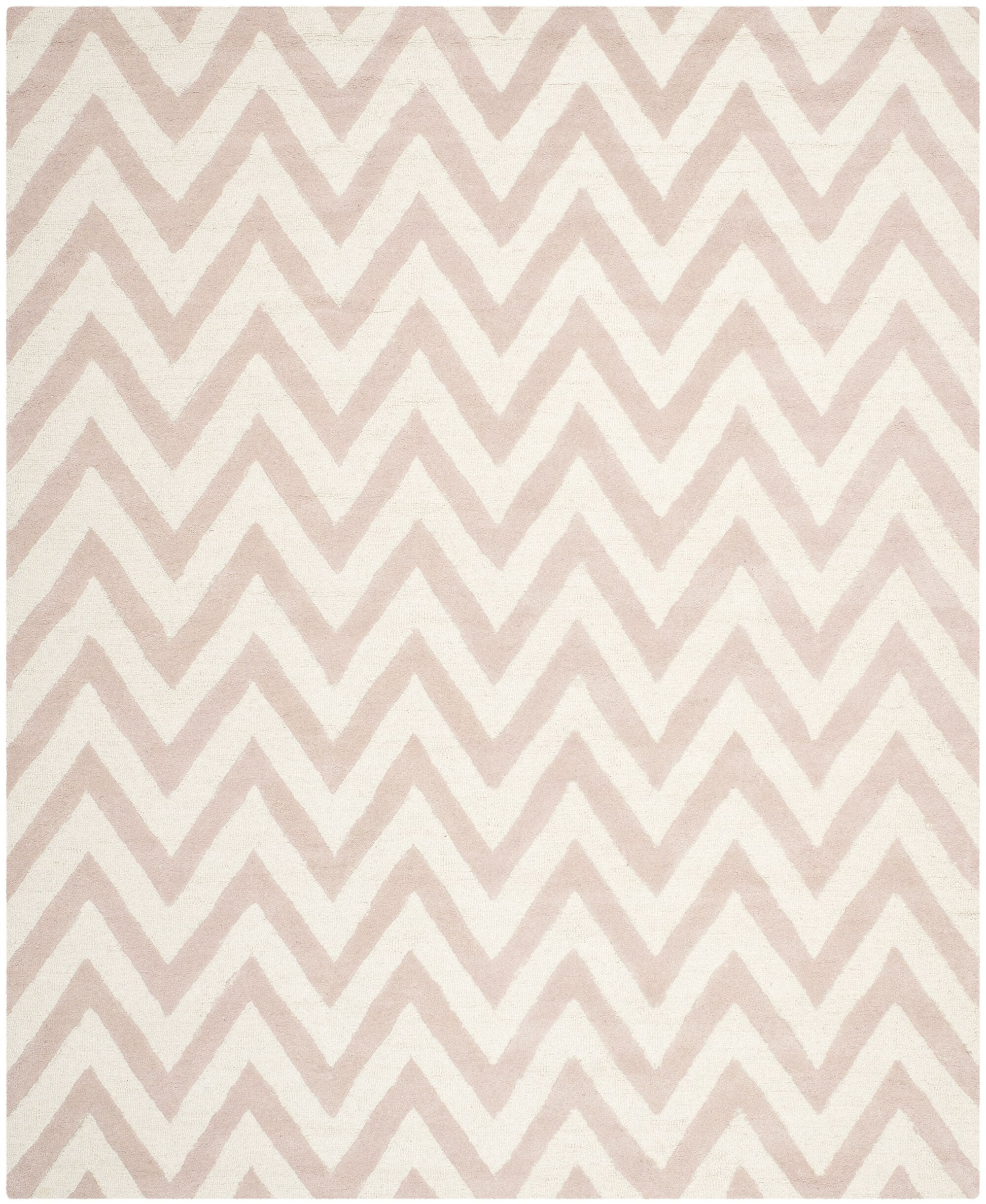 Charlenne Hand-Tufted Light Pink/Ivory Area Rug Rug Size: Rectangle 8' x 10'