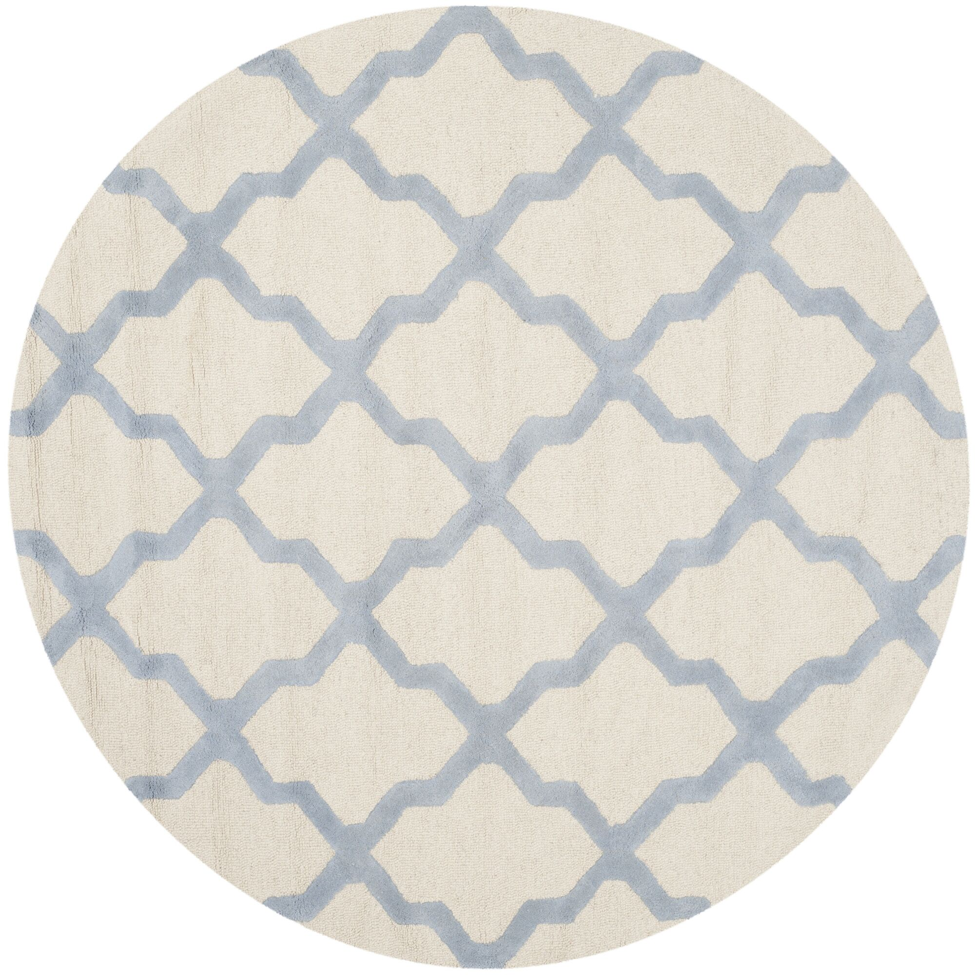Charlenne Hand-Tufted Ivory/Gray Area Rug Rug Size: Round 6'