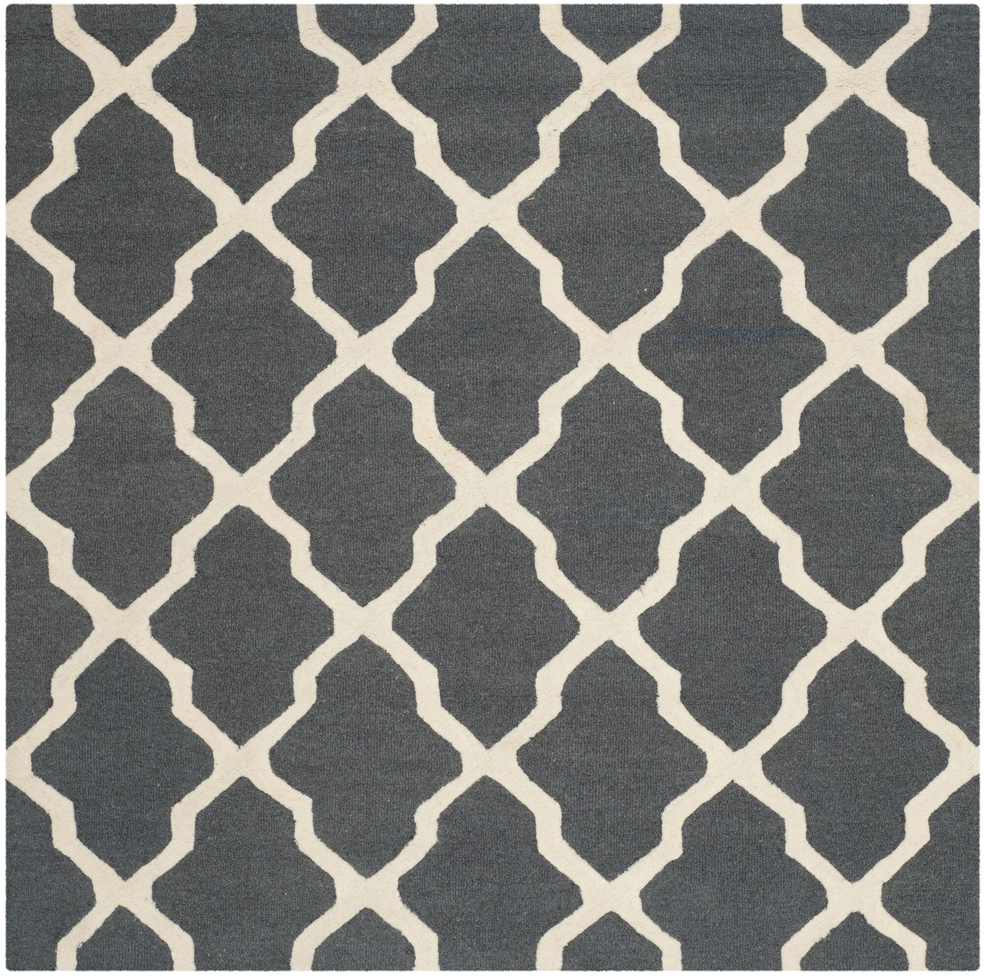 Charlenne Wool Dark Gray/Ivory Area Rug Rug Size: Square 6'