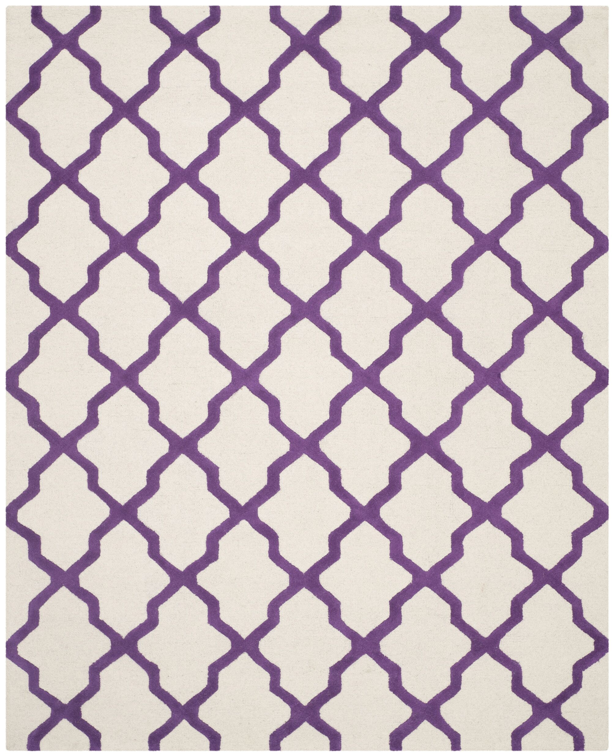 Charlenne Ivory / Purple Area Rug Rug Size: Rectangle 8' x 10'