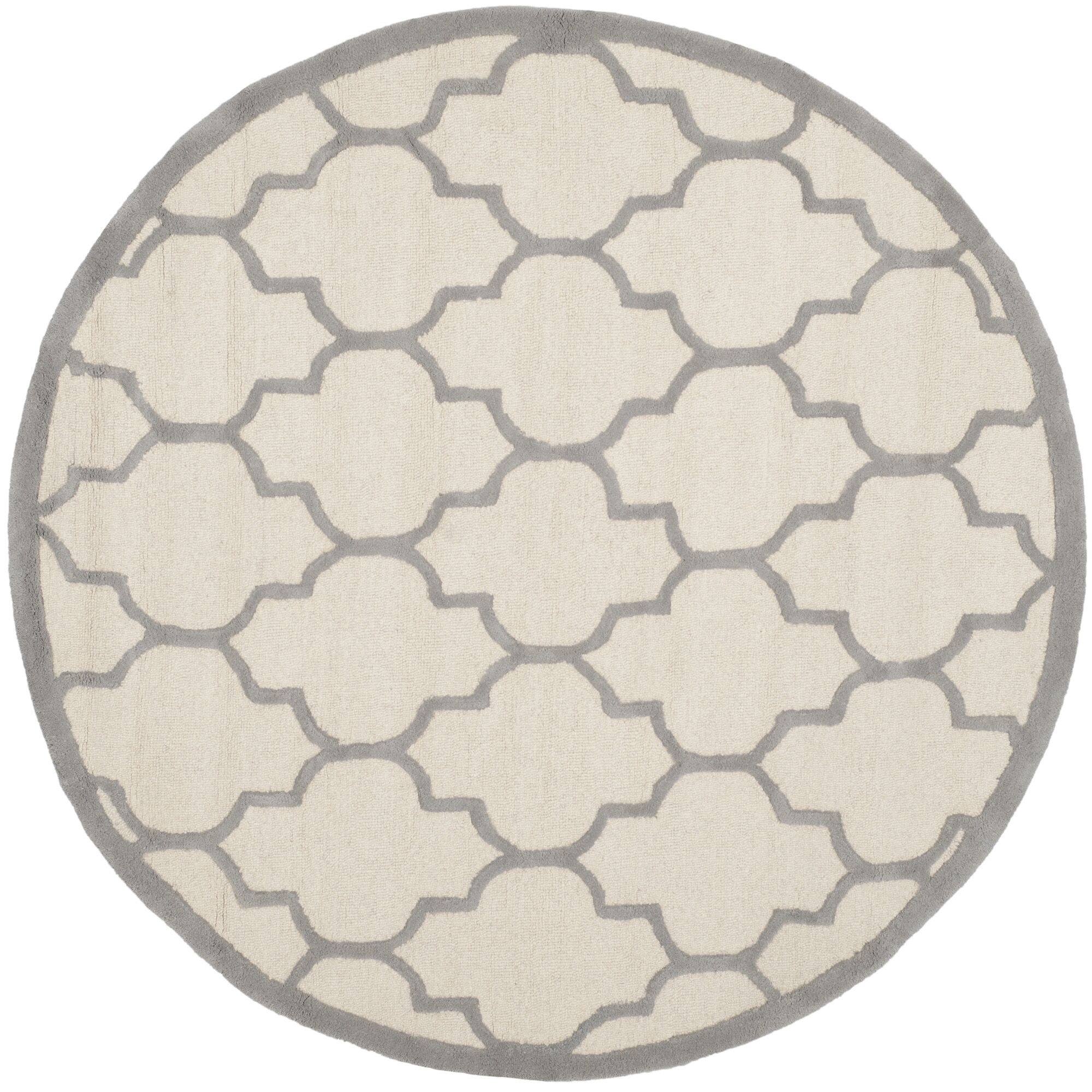 Charlenne Hand-Woven Wool Ivory/Silver Area Rug Rug Size: Round 6'