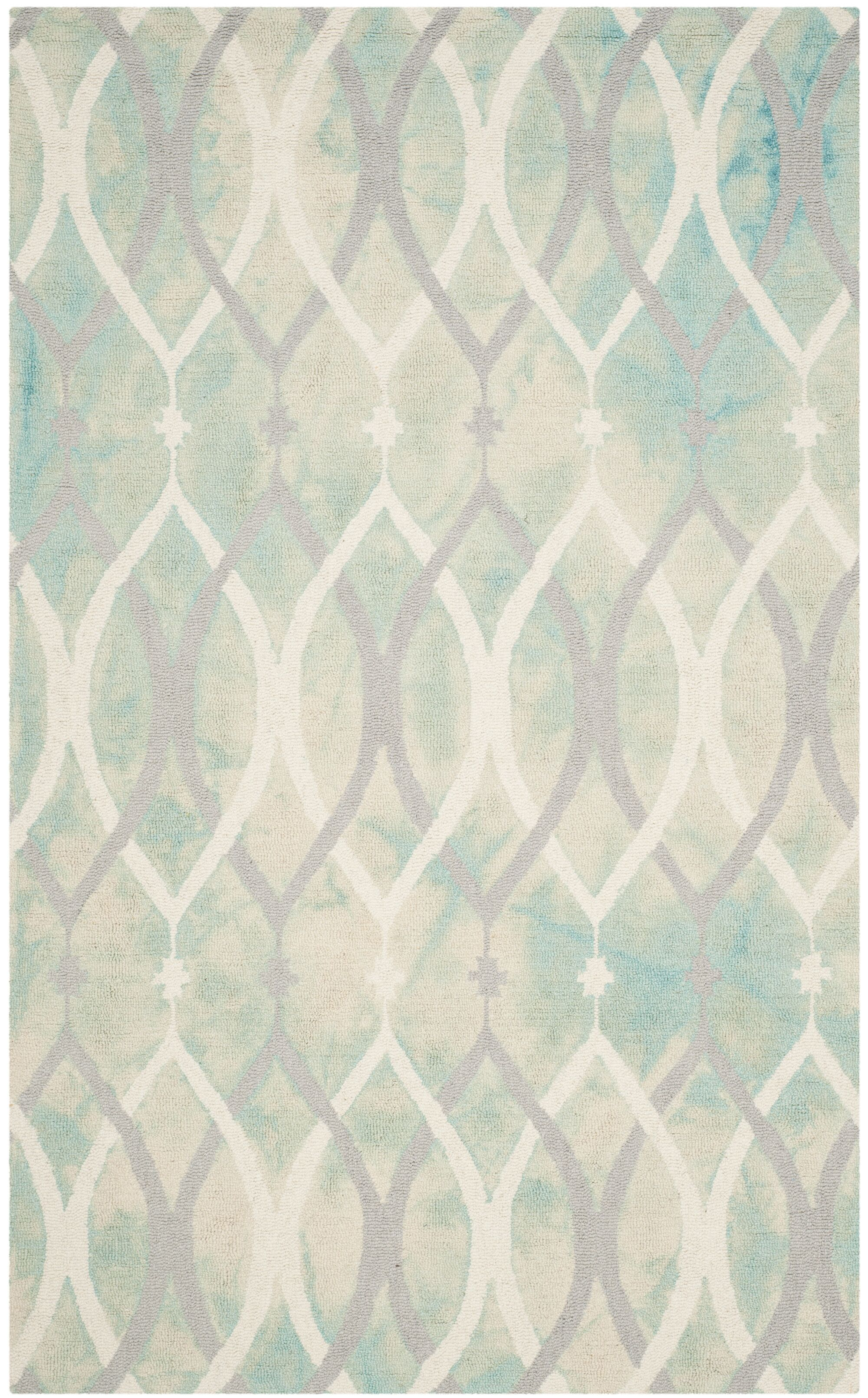 Clements Hand-Tufted Green/Ivory/Gray Area Rug Rug Size: Rectangle 5' x 8'