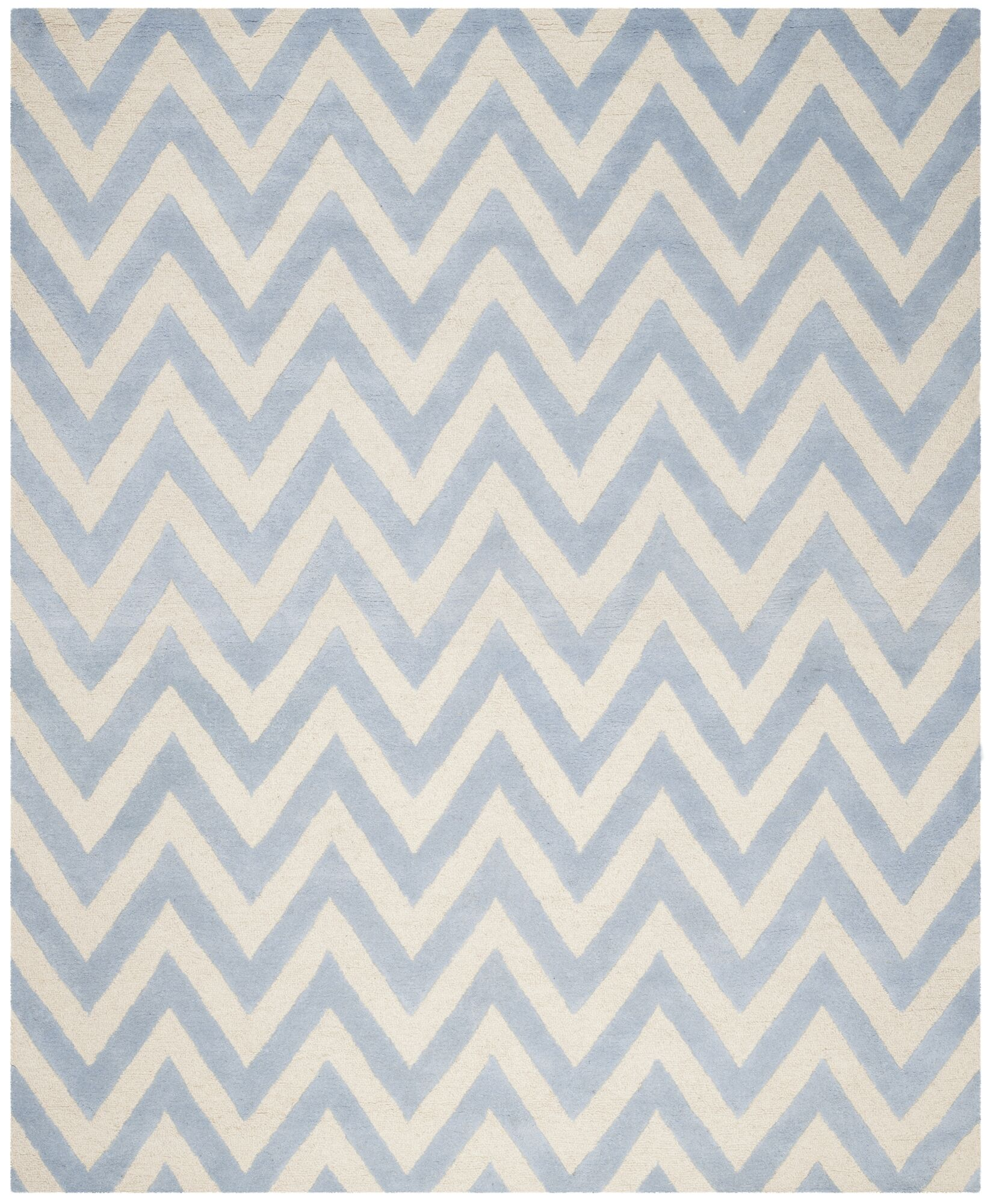 Charlenne Hand-Tufted Wool Light Blue/Ivory Area Rug Rug Size: Rectangle 8' x 10'