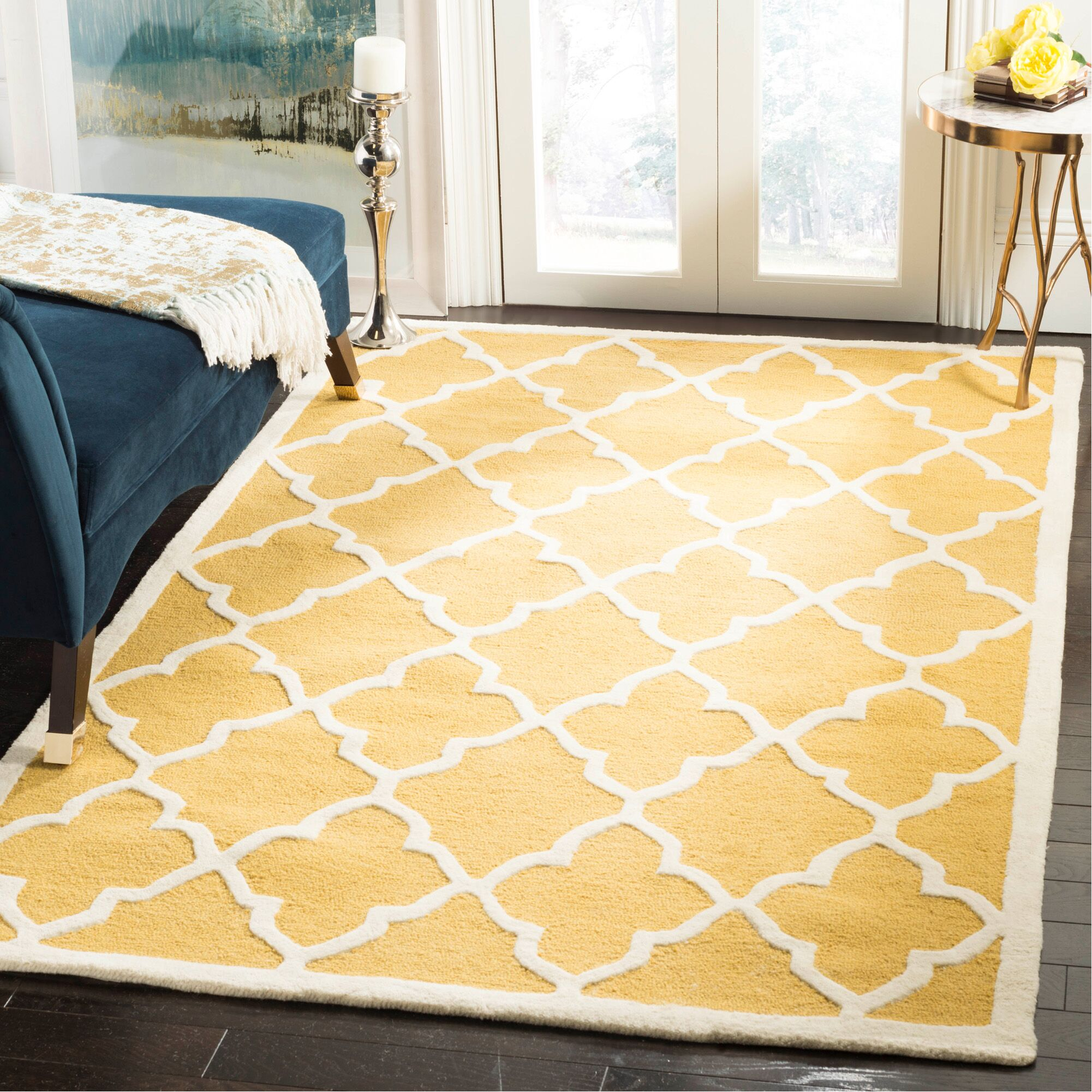 Charlenne Gold / Ivory Area Rug Rug Size: Rectangle 5' x 8'