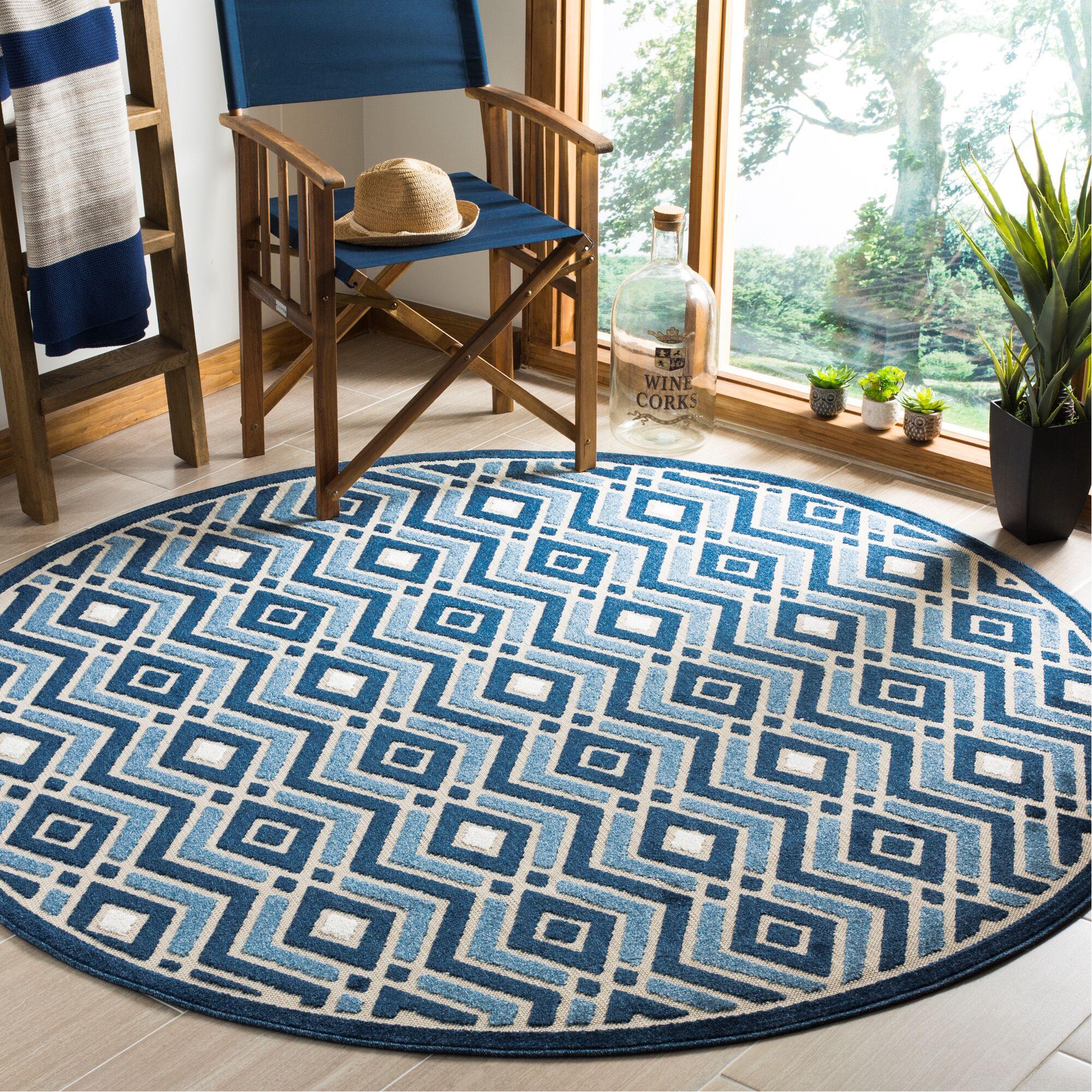 Charlot Blue Indoor/Outdoor Area Rug Rug Size: Round 6'7