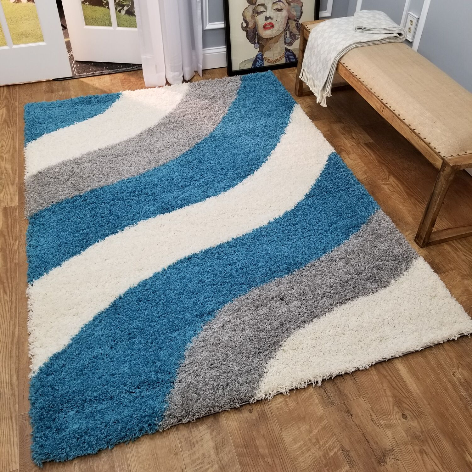 Burns Block Striped Waves Contemporary White/Turquoise Blue Shag Area Rug Rug Size: 5' x 7'