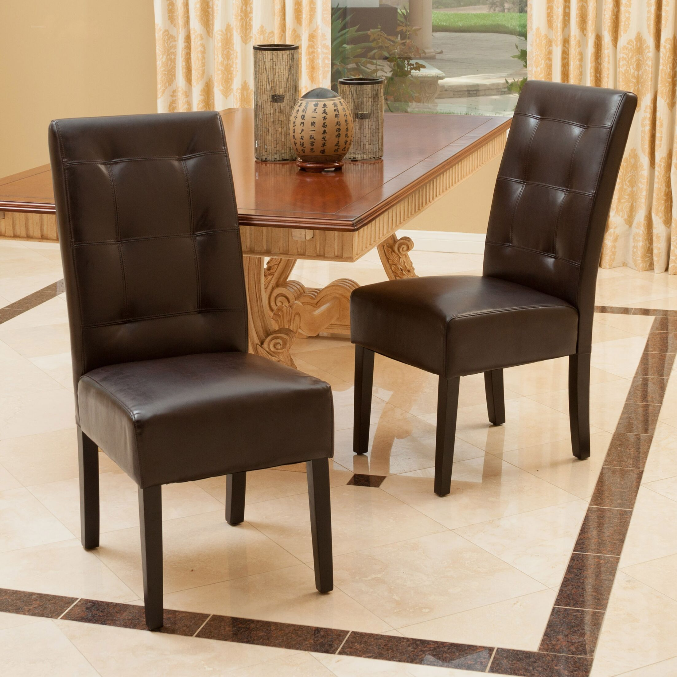 Mira Genuine Leather Upholstered Dining Chair