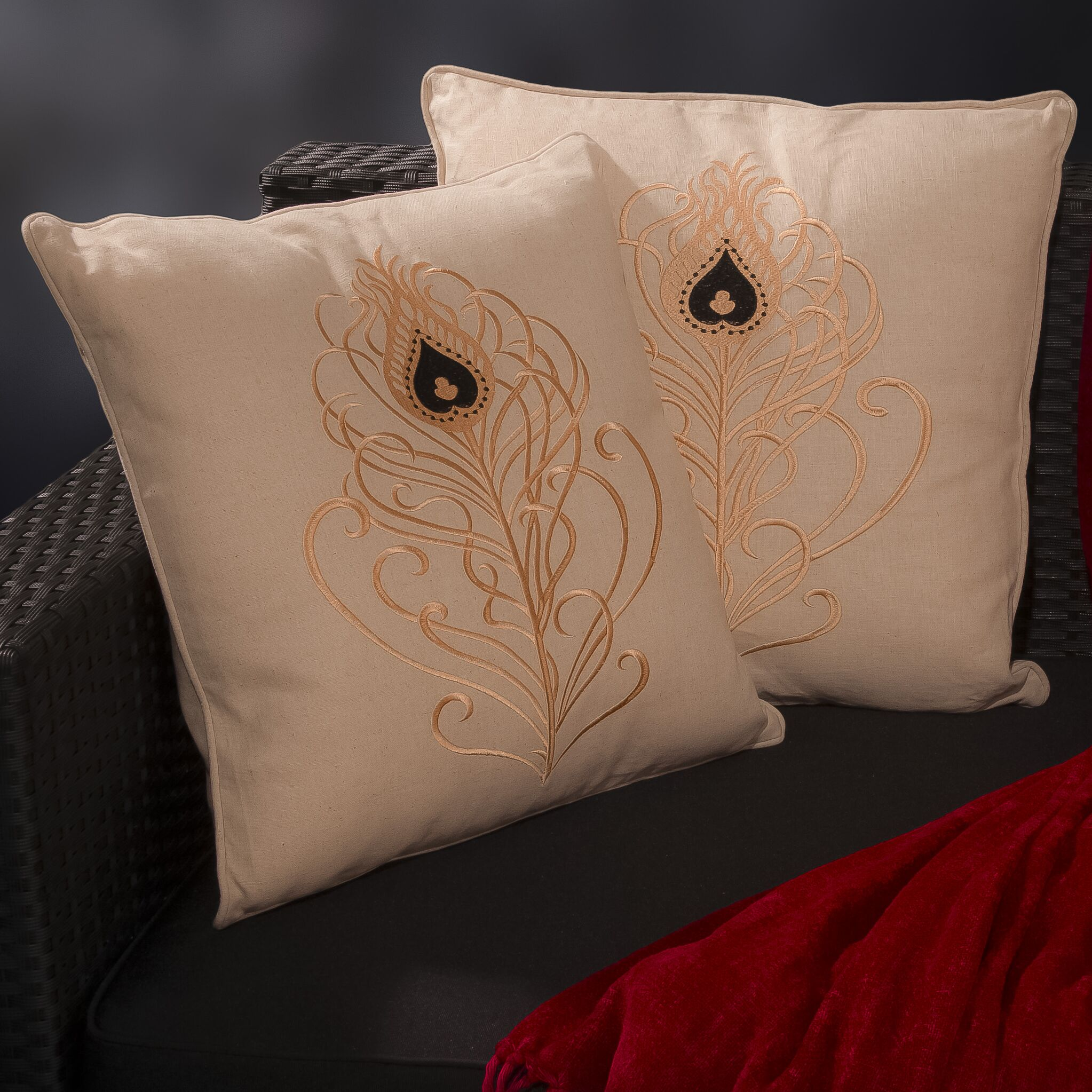 Russellville Light Embroidered Throw Pillow