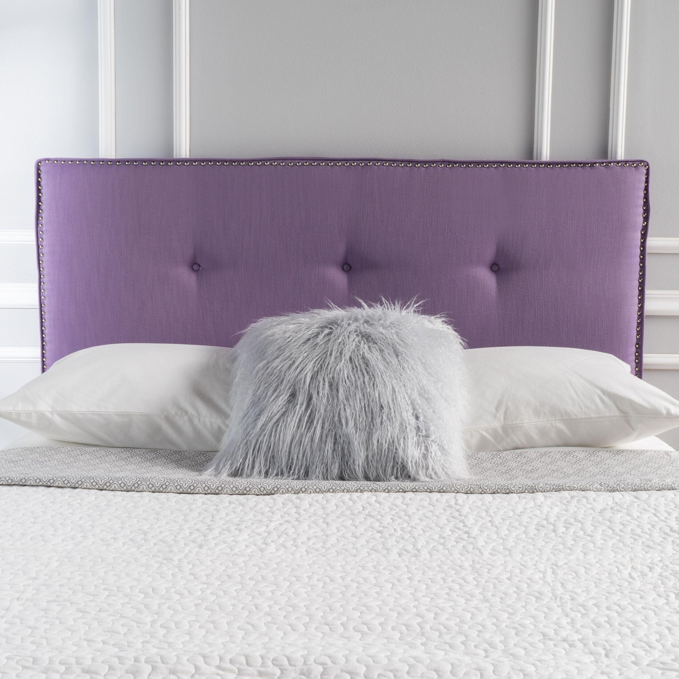 Full Upholstered Panel Headboard Upholstery: Light Purple
