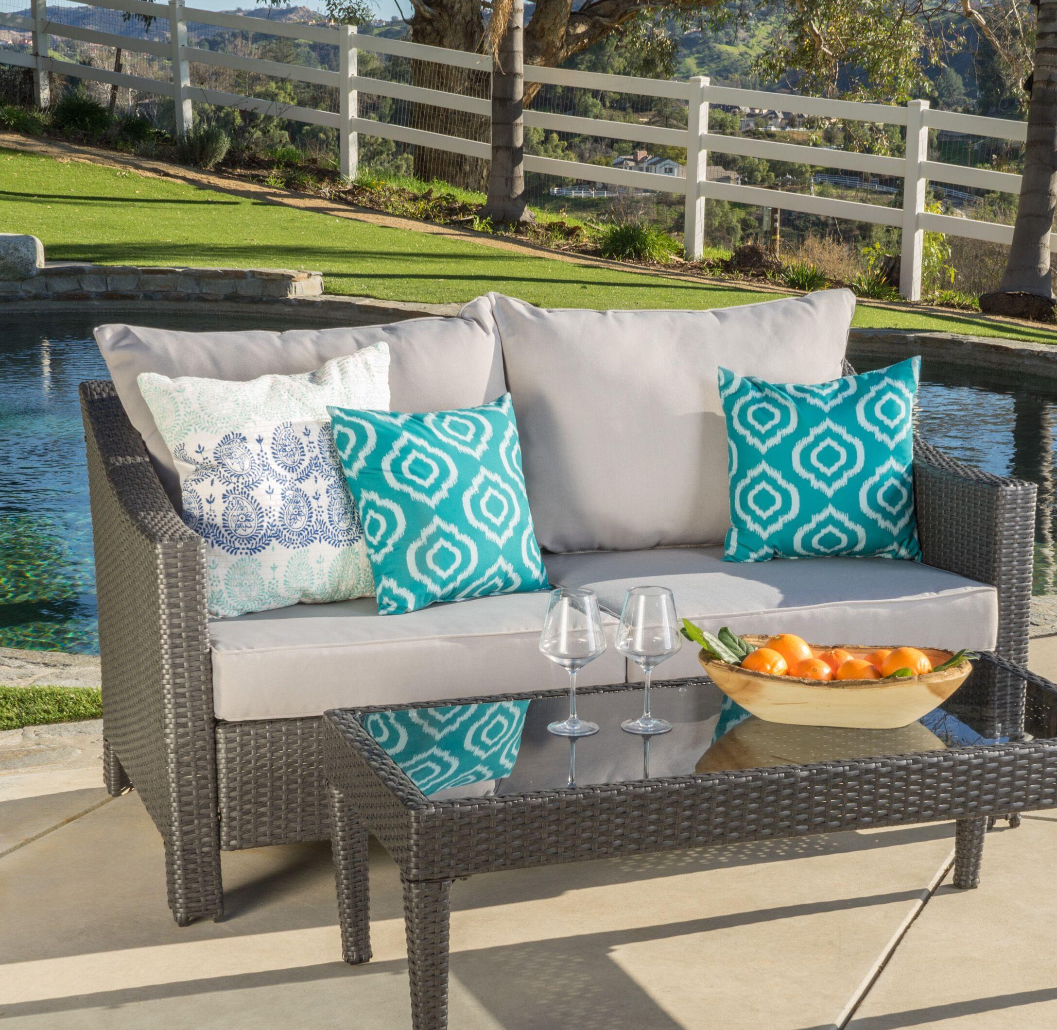 Harworth 2 Piece Rattan Sofa Set with Cushions Color: Gray
