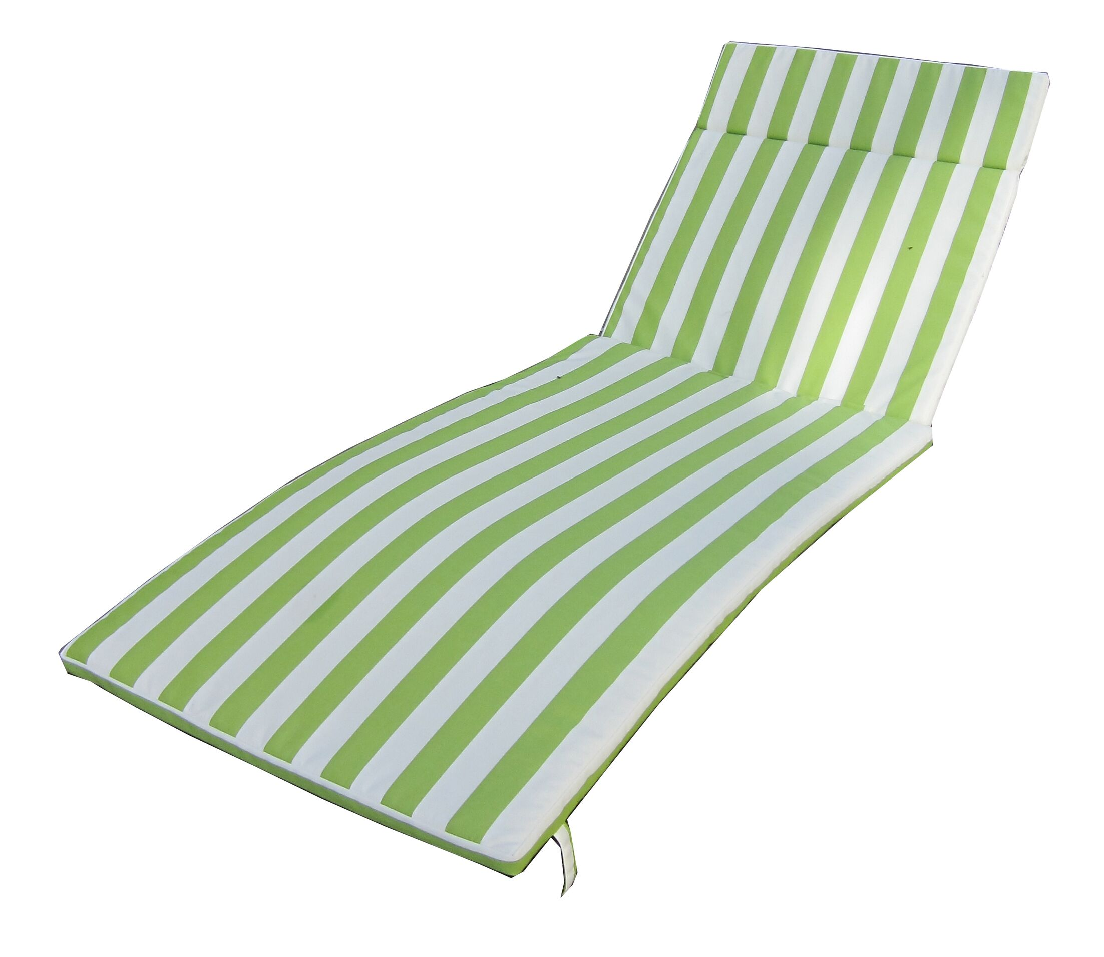 Indoor/Outdoor Chaise Lounge Cushion Color: Green/White