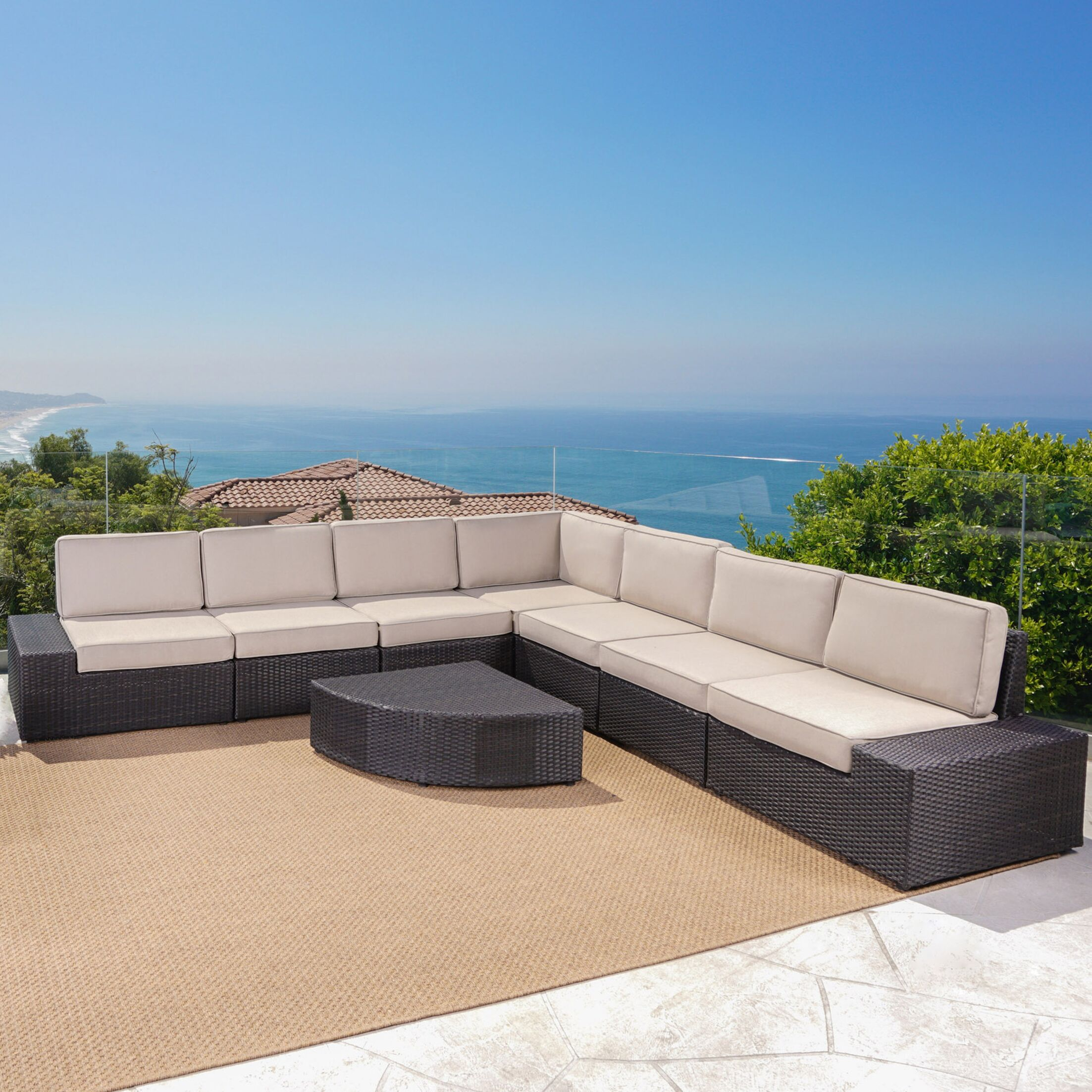 Hults 8 Piece Sectional Set with Cushions Upholstery: Dark Brown