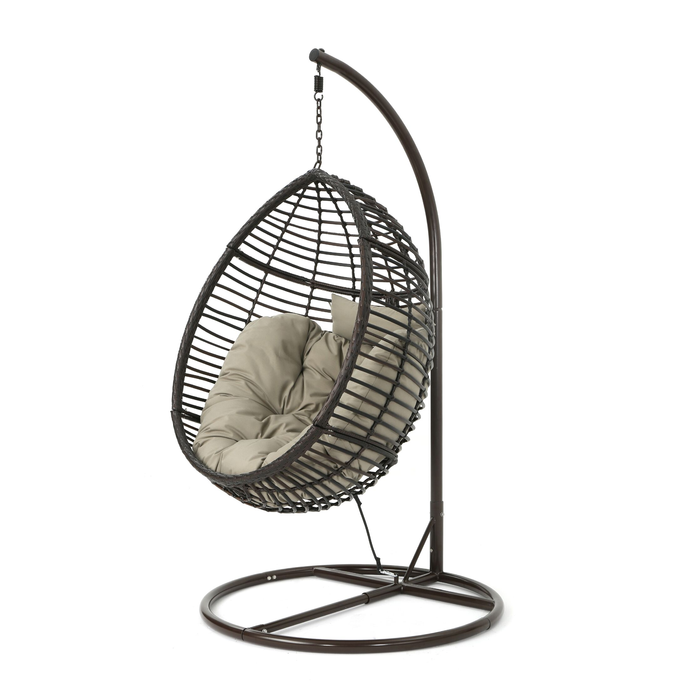 Weller Outdoor Wicker Basket Swing Chair with Stand Color: Brown