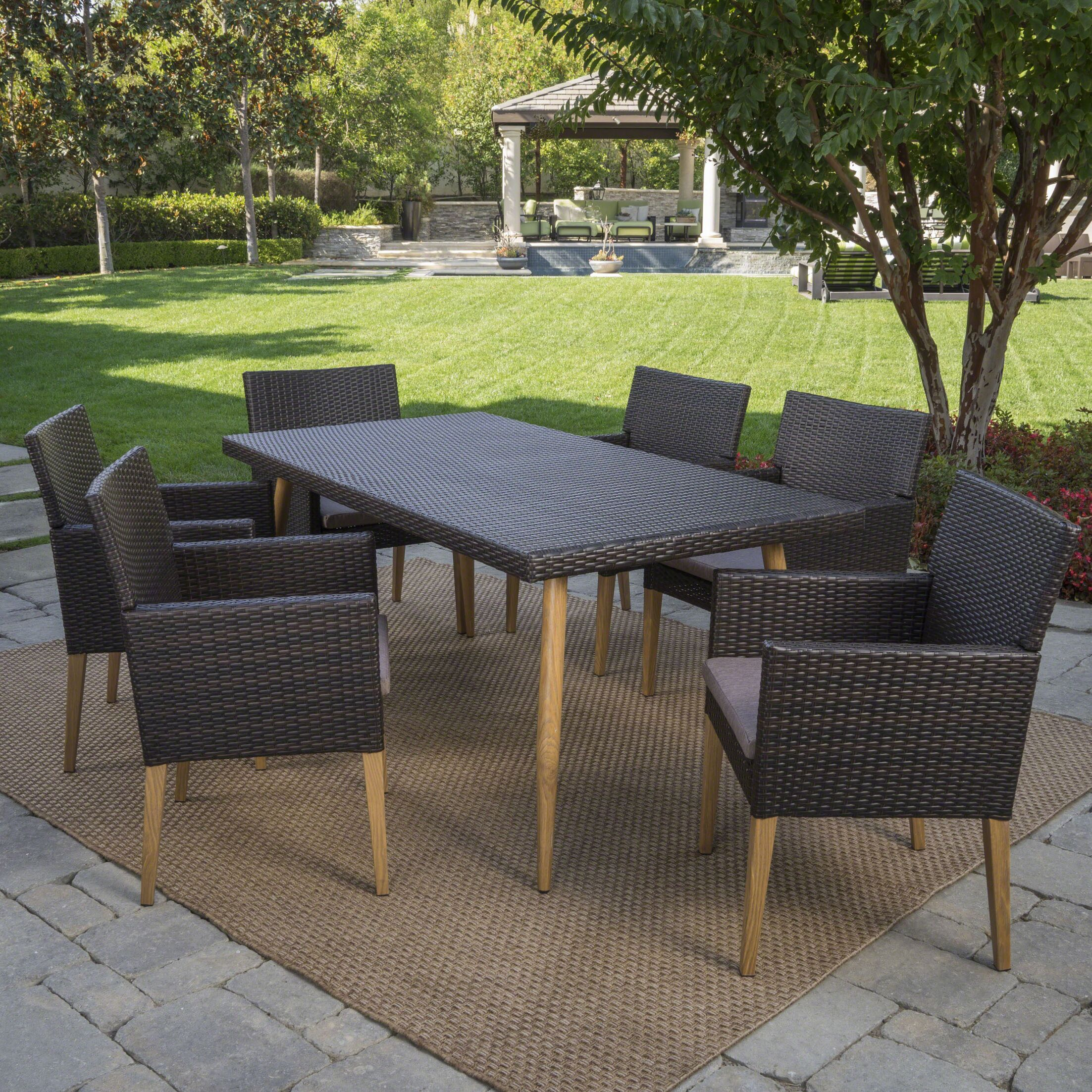 Sobel Outdoor 7 Piece Dining Set with Cushions