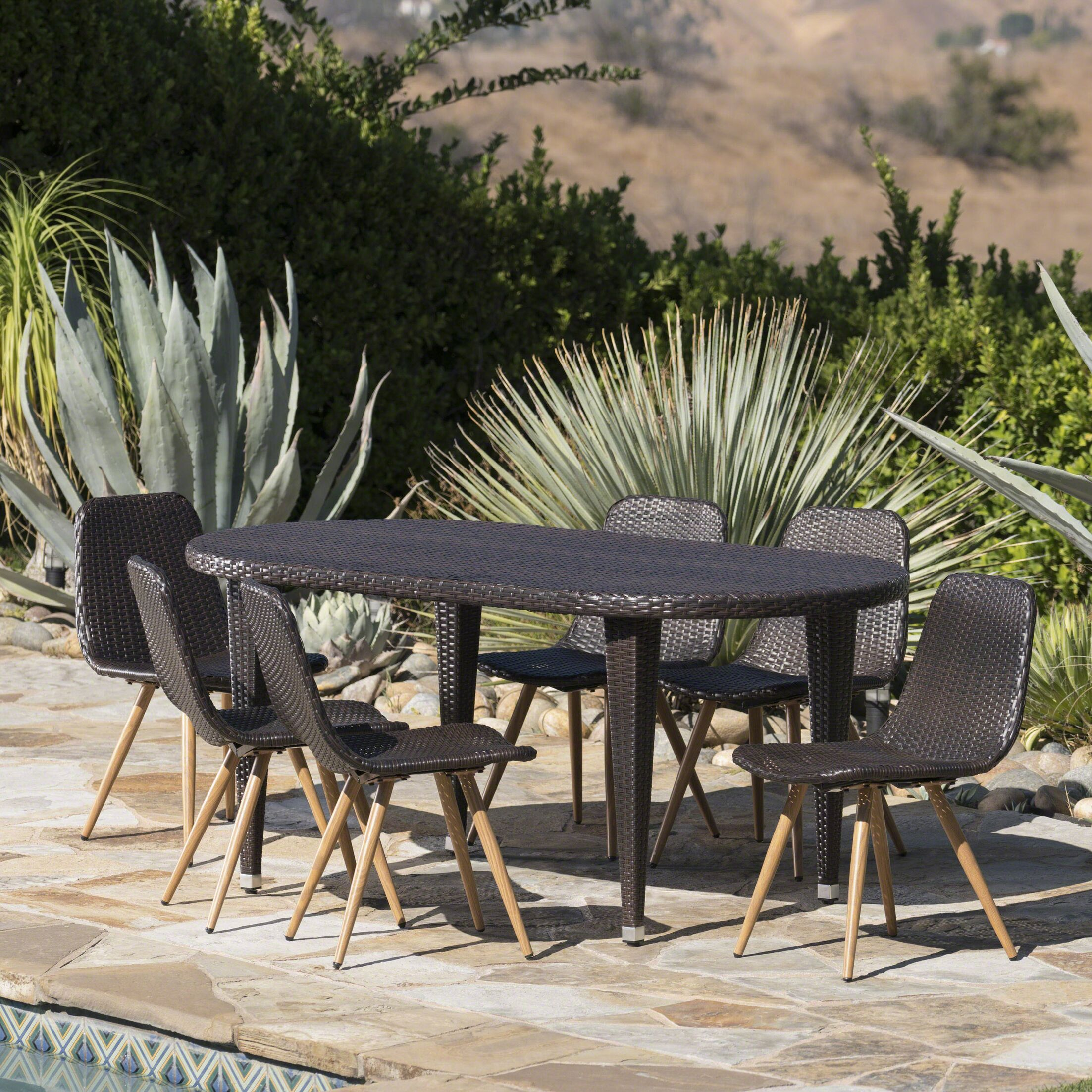 Ramm Outdoor 7 Piece Dining Set Color: Dark Brown
