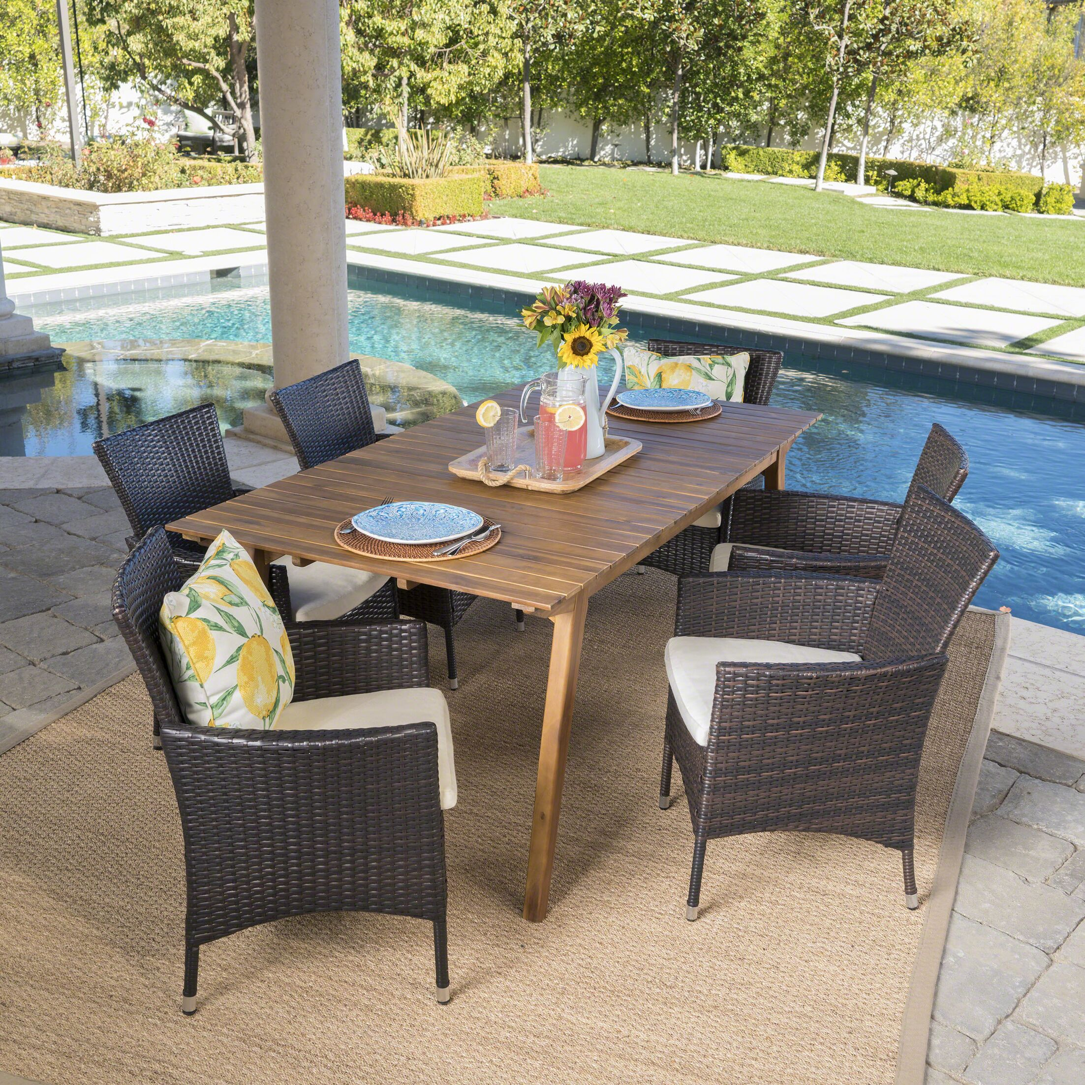 Manno Outdoor 7 Piece Dining Set with Cushions